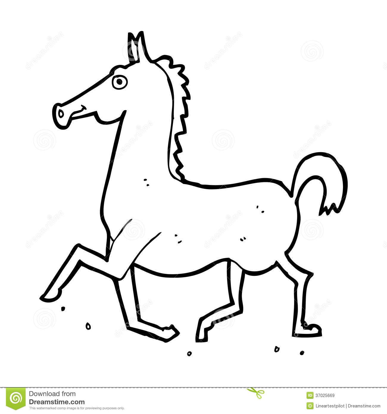 Horse cartoon black and white