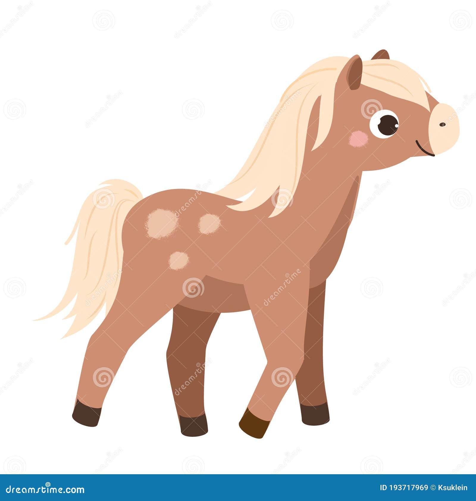 Cartoon Horse Cute Farm Animal Character Vector Clip Art Stock Vector Illustration Of Funny Brown 193717969