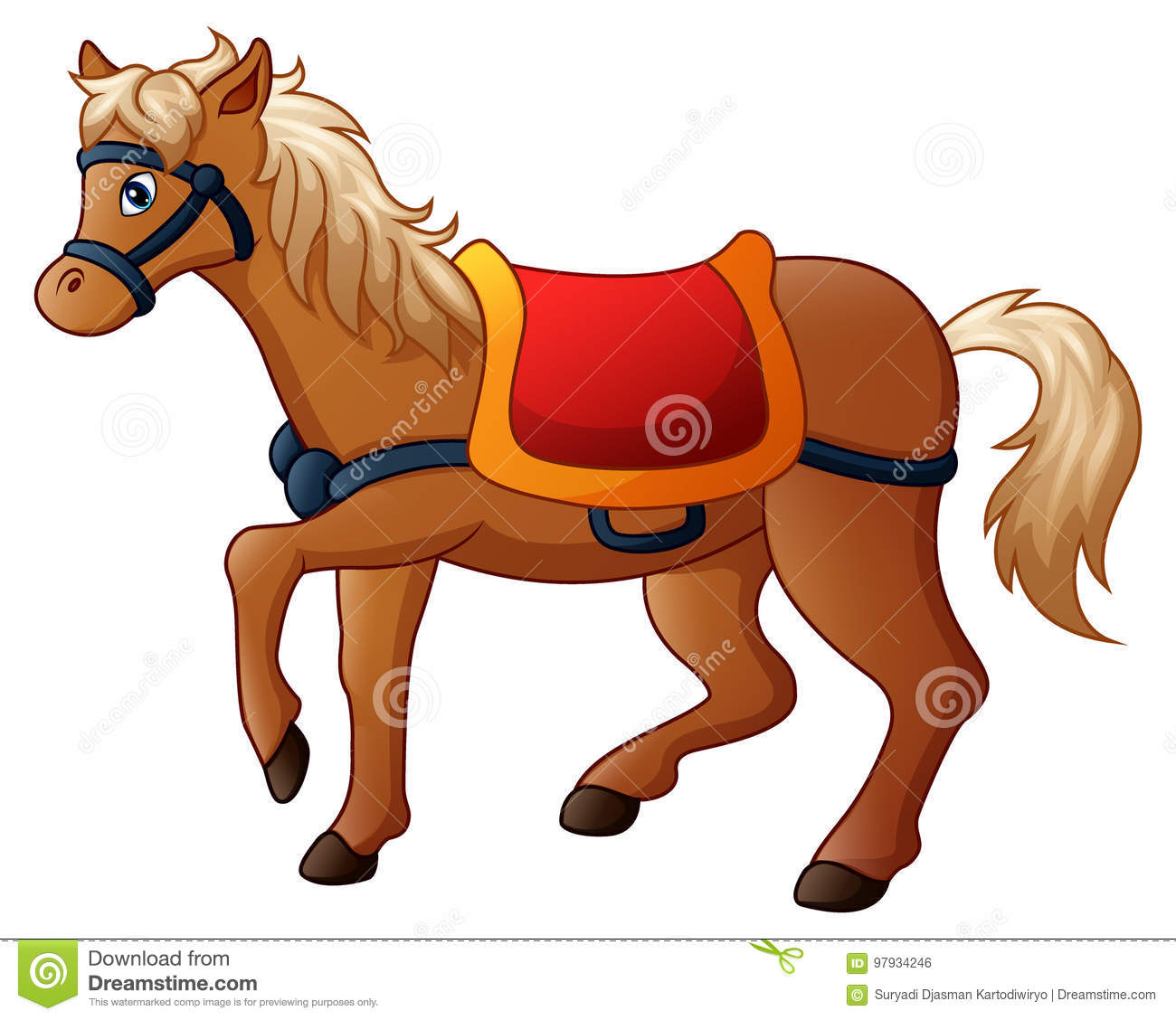 cartoon horse with saddle stock vector illustration of colt 97934246 rh dreamstime com Back On Horse with Saddle Coloring Pages Saddle Horse Graphics