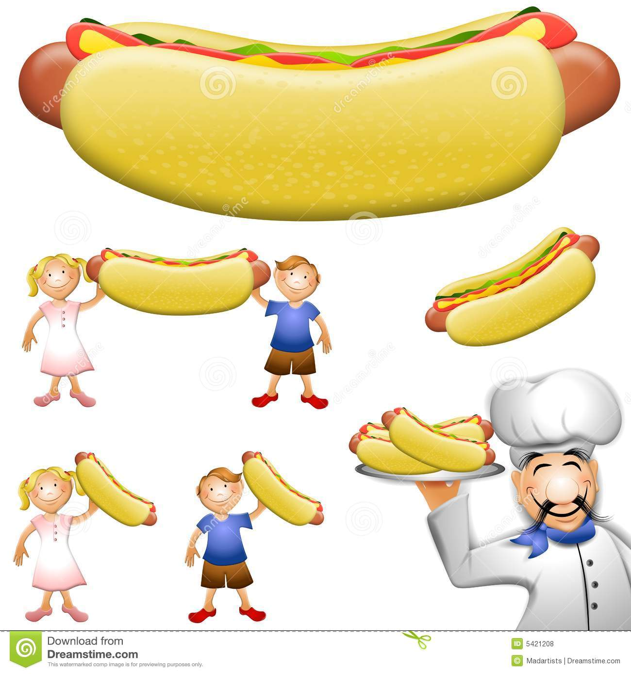 Cartoon Hotdog Clip Art Royalty Free Stock Photos - Image: 5421208