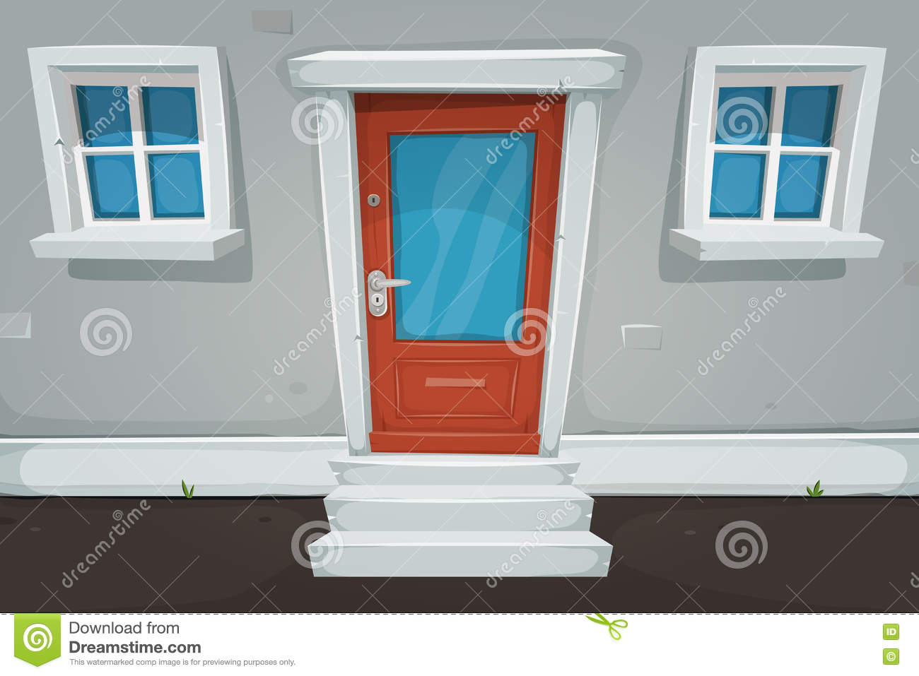 Cartoon House Door And Windows In The Street Stock Vector