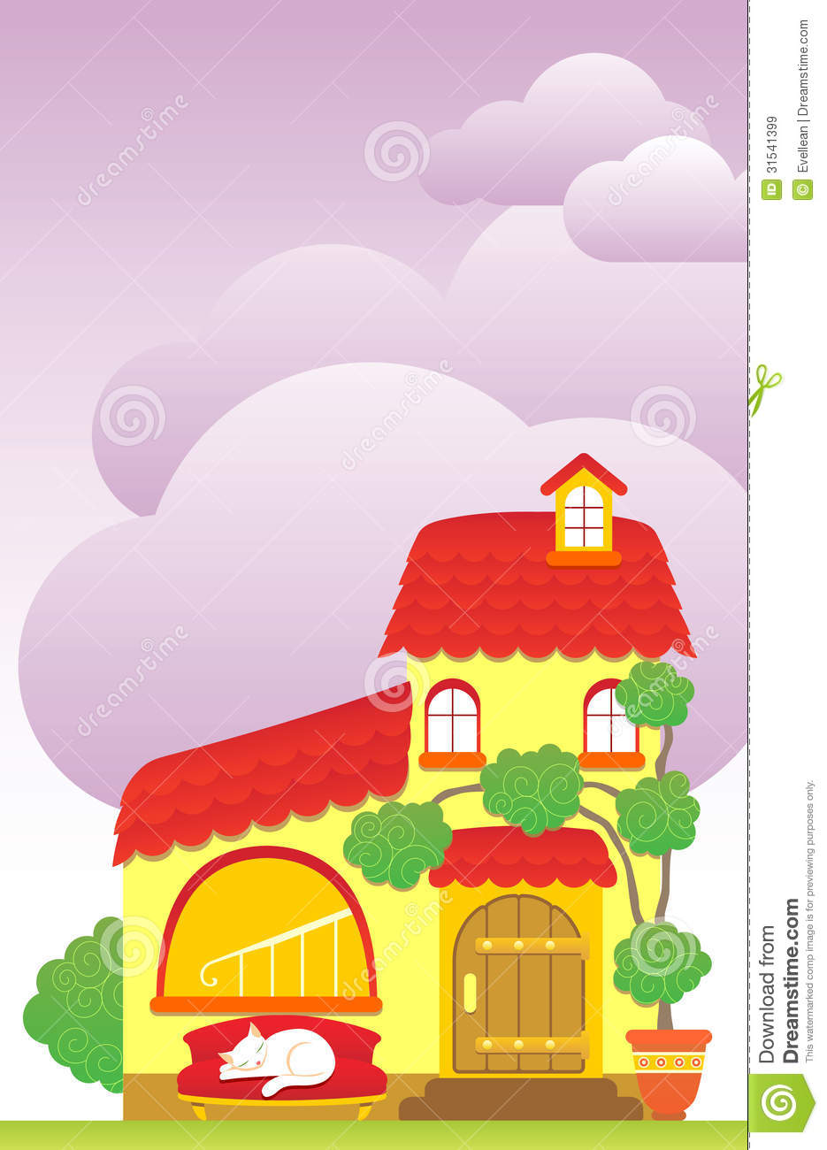 Cartoon house stock vector image of painting for Cute house images