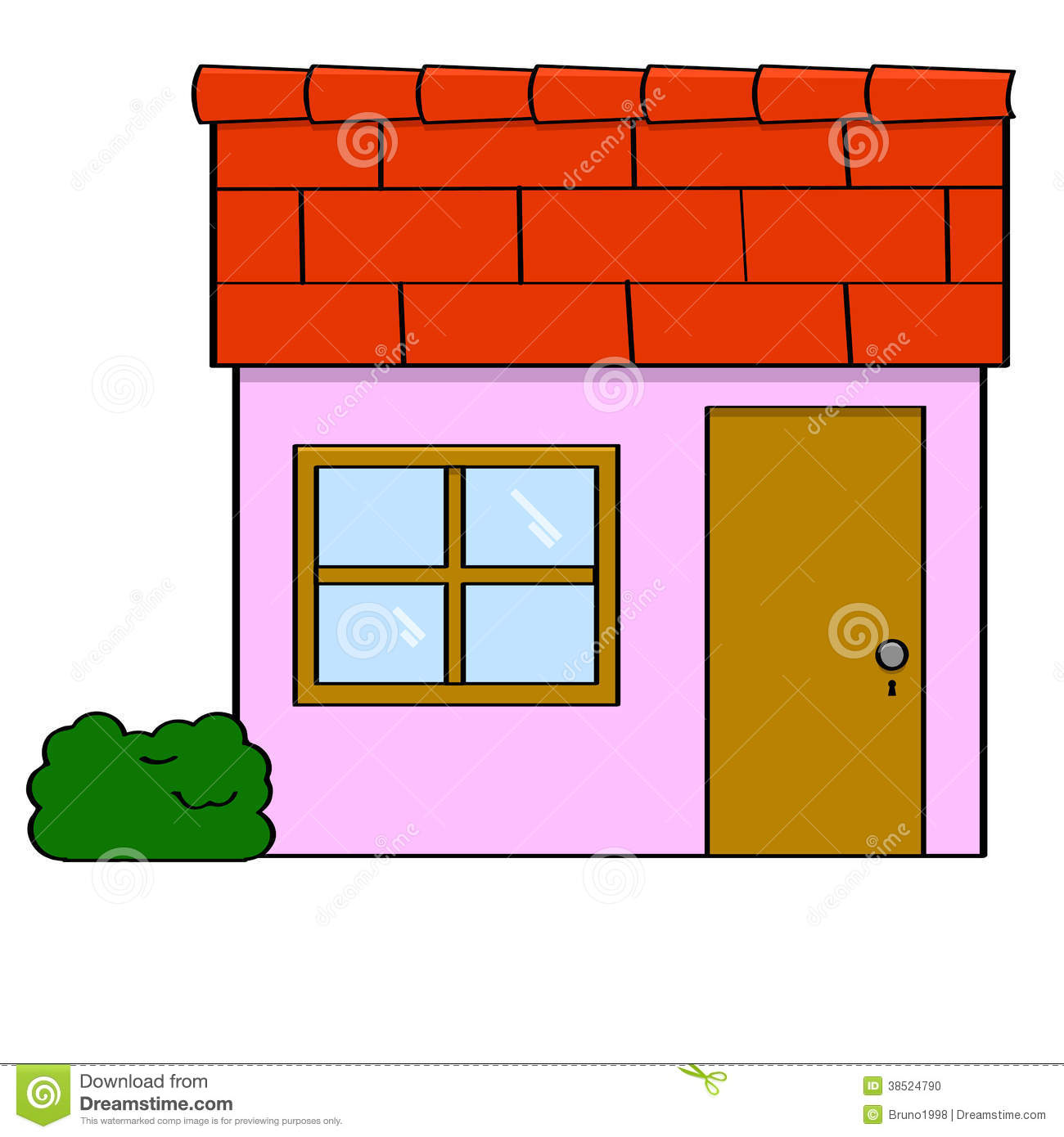 Cartoon house stock vector illustration of landlord for Simple house window design