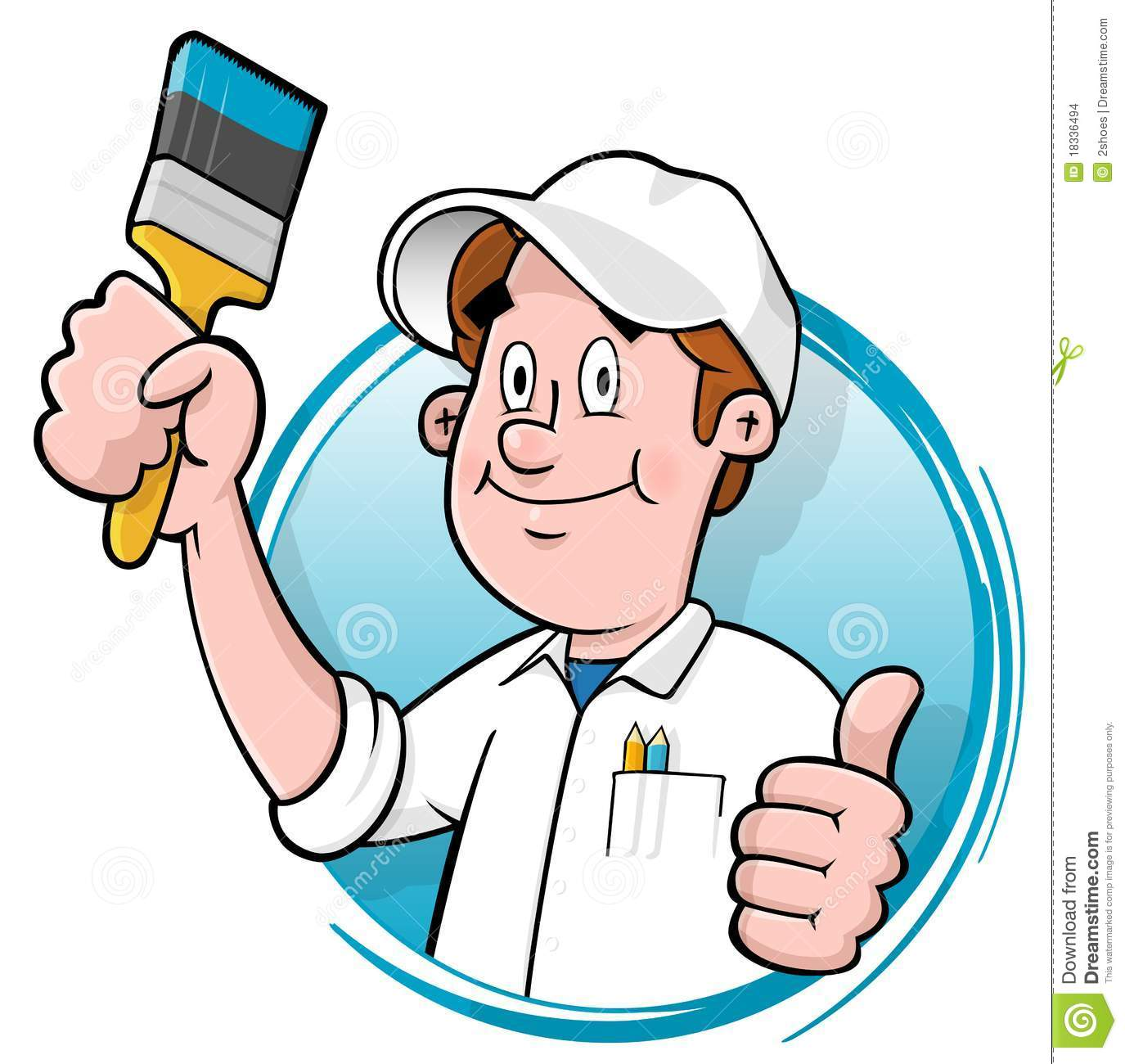 Cartoon house painter logo stock images image 18336494 for Peintre en batiment