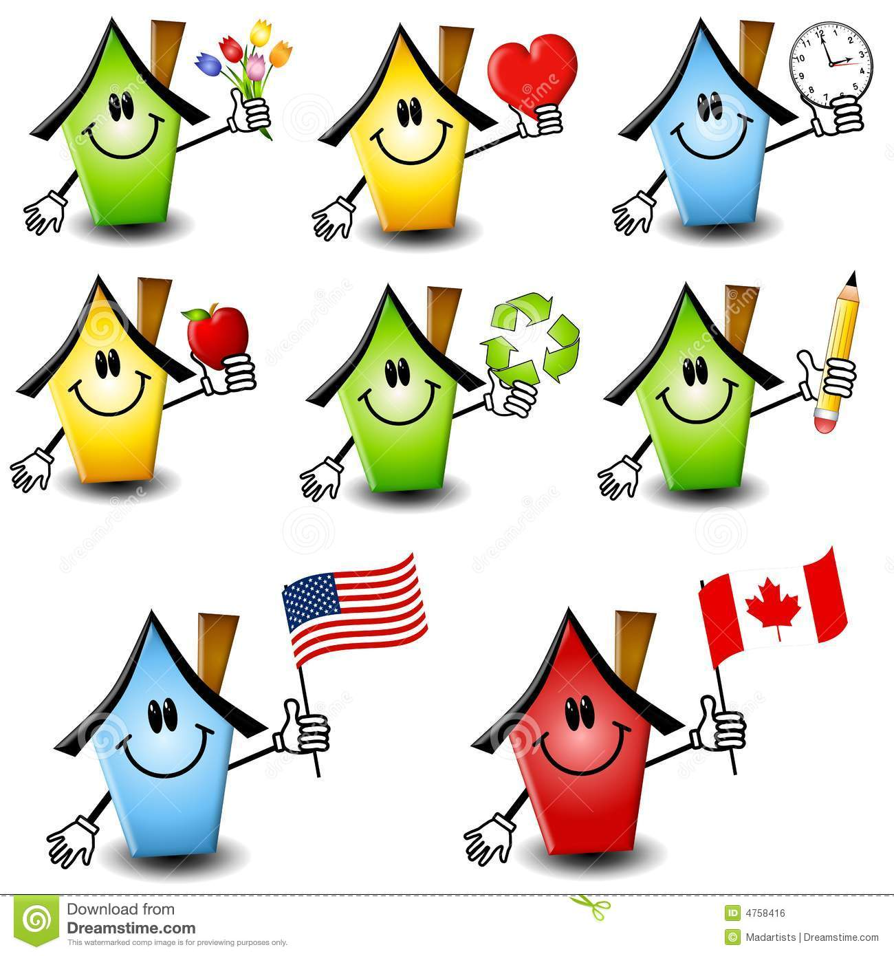 Cartoon Houses Holding Objects 2