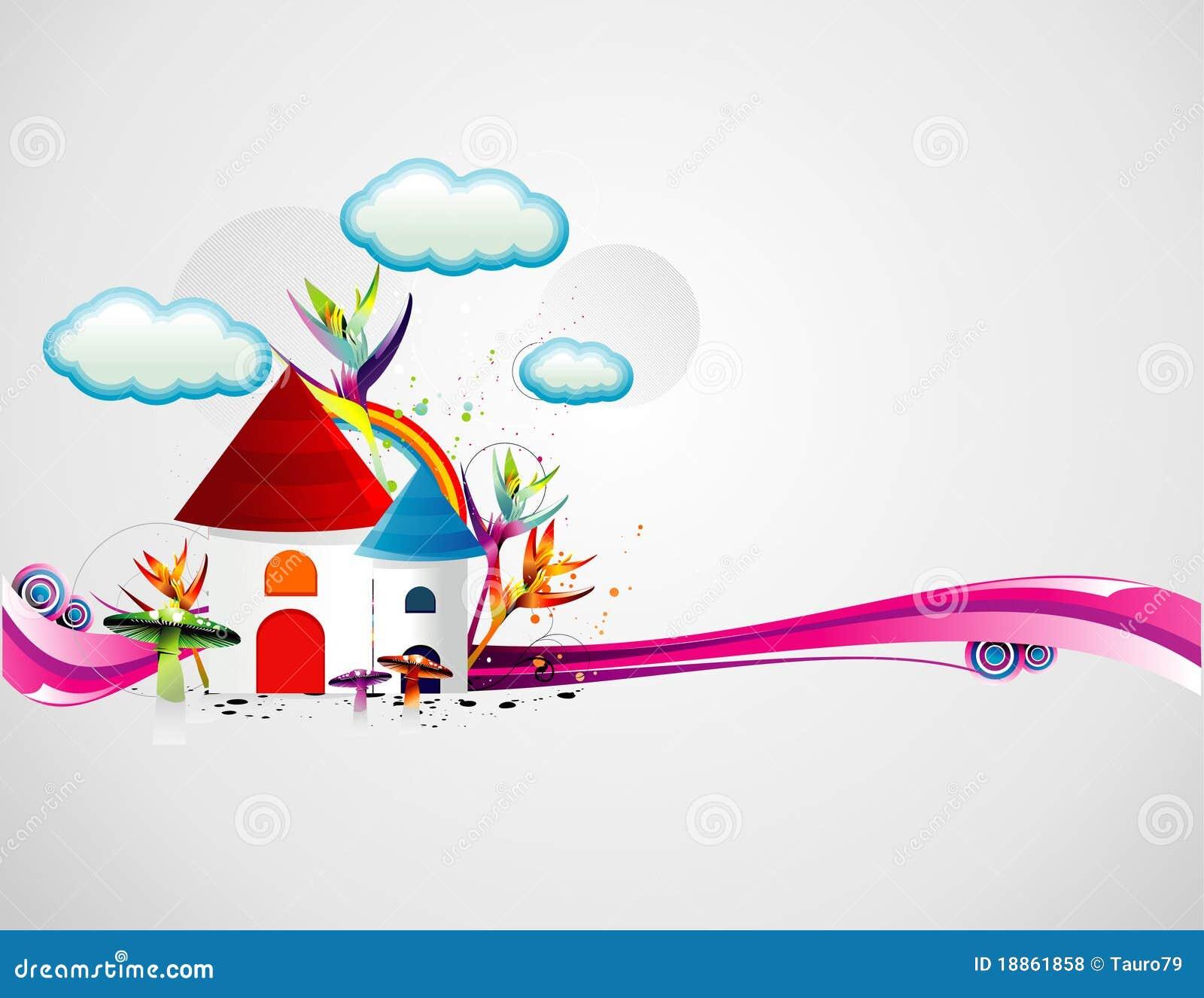 Cartoon houses illustration