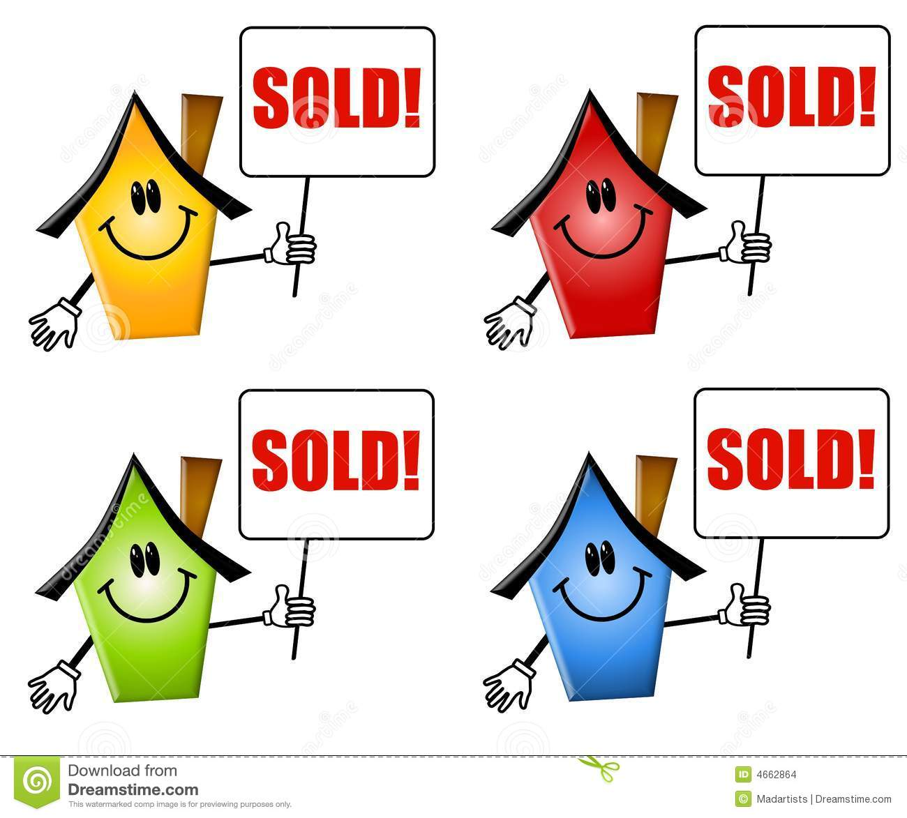 Cartoon Houses Sold Signs