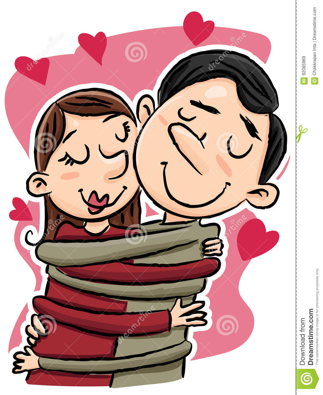 Cartoon Hugging Couple Stock Vector Illustration Of Love 92085969