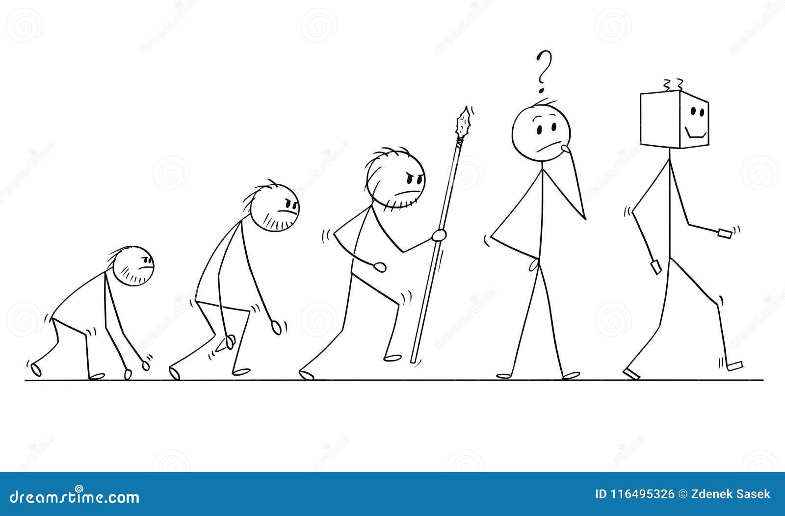 Cartoon Of Human Evolution Process Progress, Successor Of ...