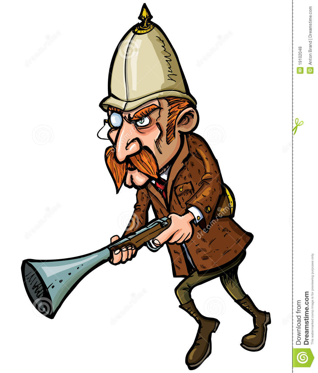 Cartoon hunter with a blunderbuss royalty free stock photos image