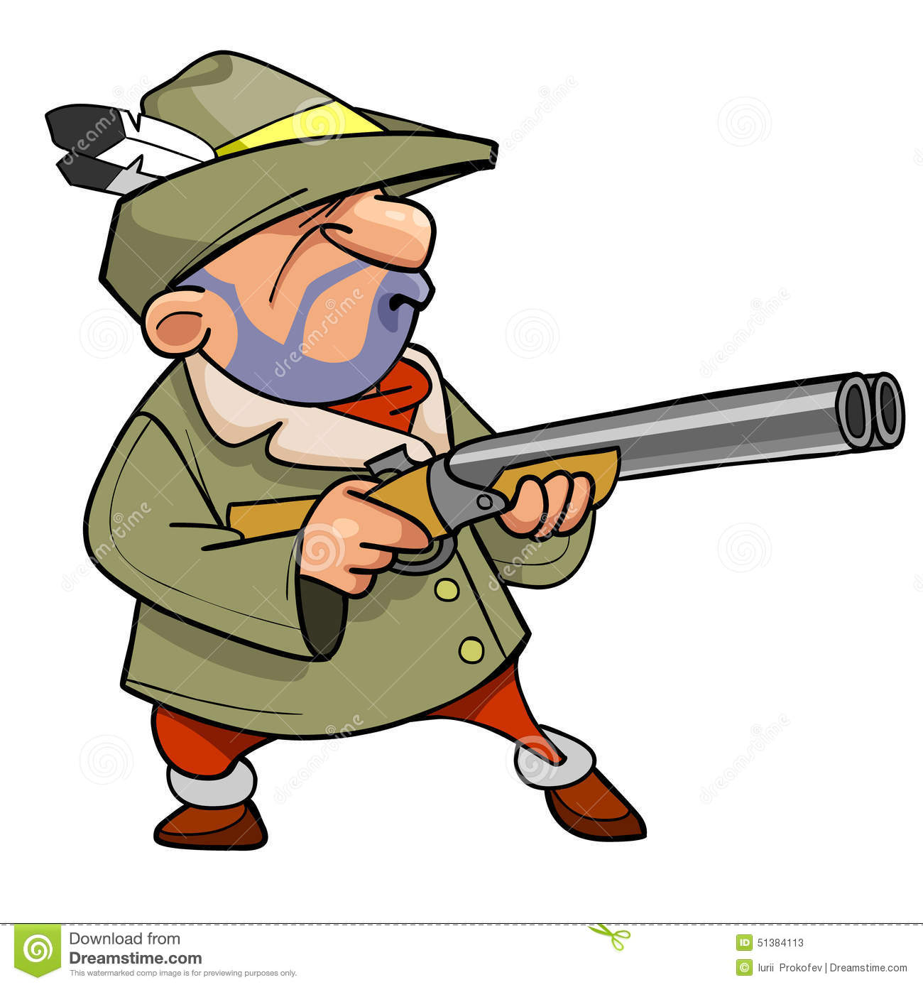 Cartoon hunter in a hat with a feather holding the gun stock vector