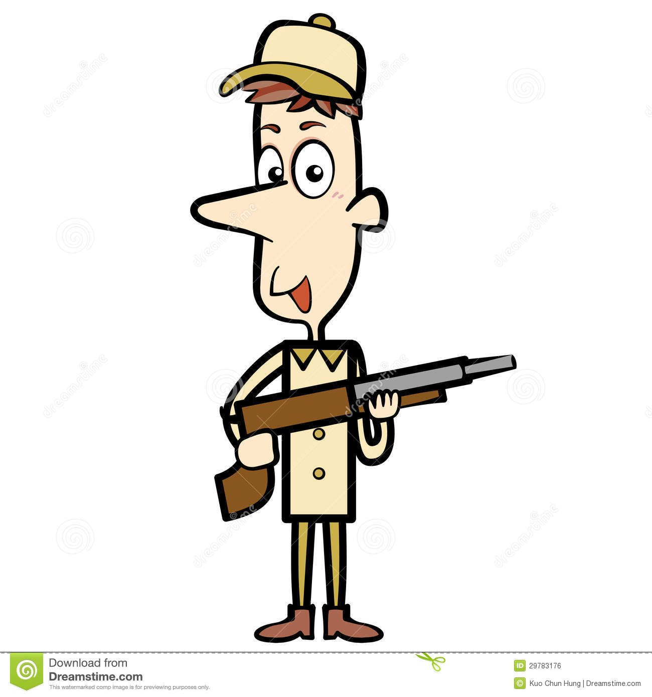 Cartoon Hunter With A Shotgun Royalty Free Stock Image - Image ...