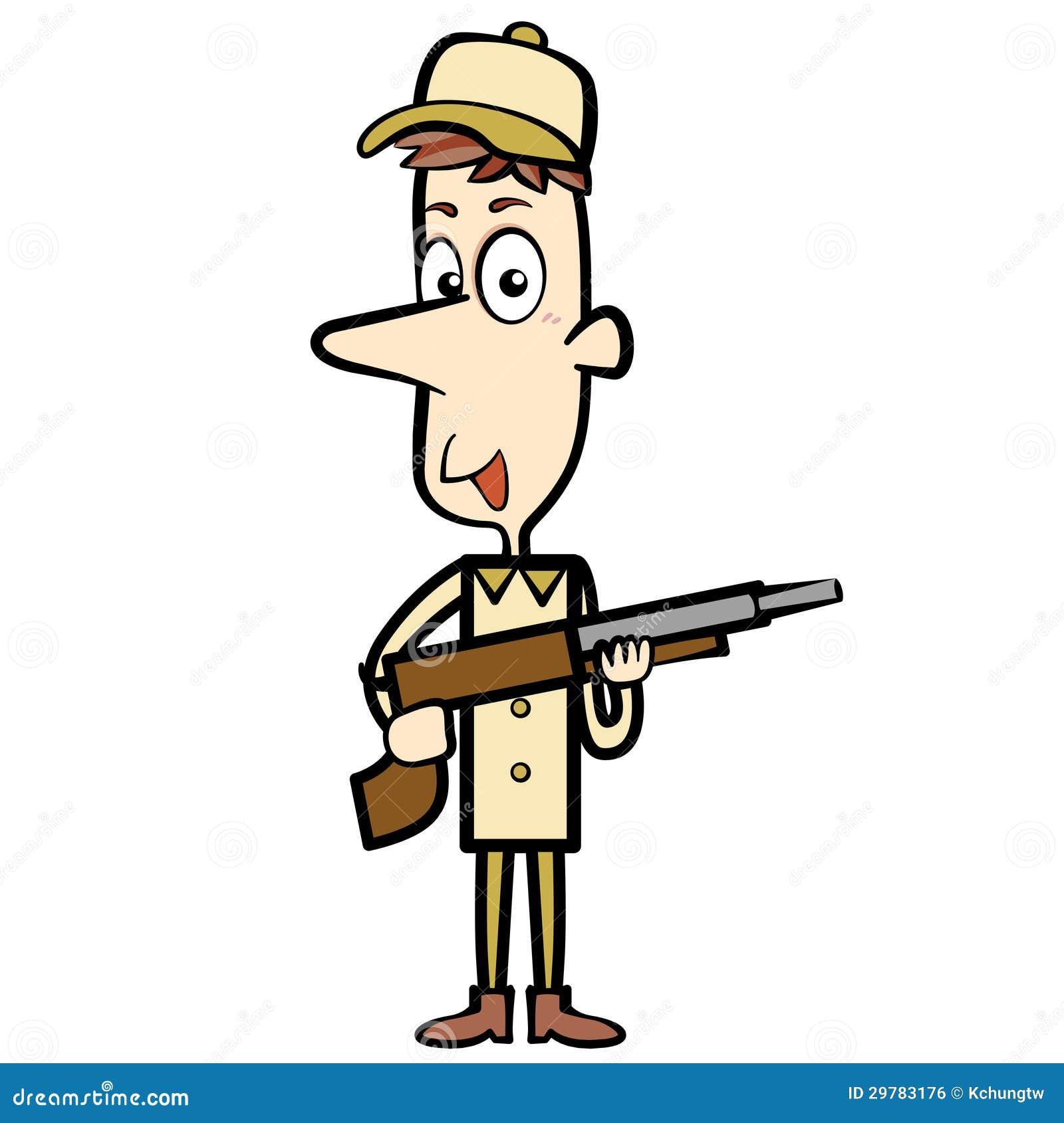 Cartoon Hunter With A Shotgun Stock Vector - Illustration of ...