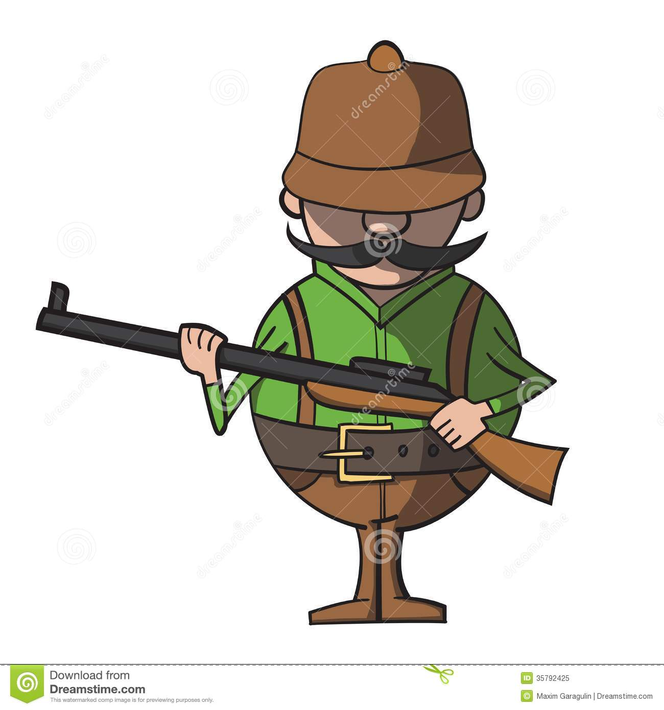 Cartoon hunter on a white background vector royalty free stock photo