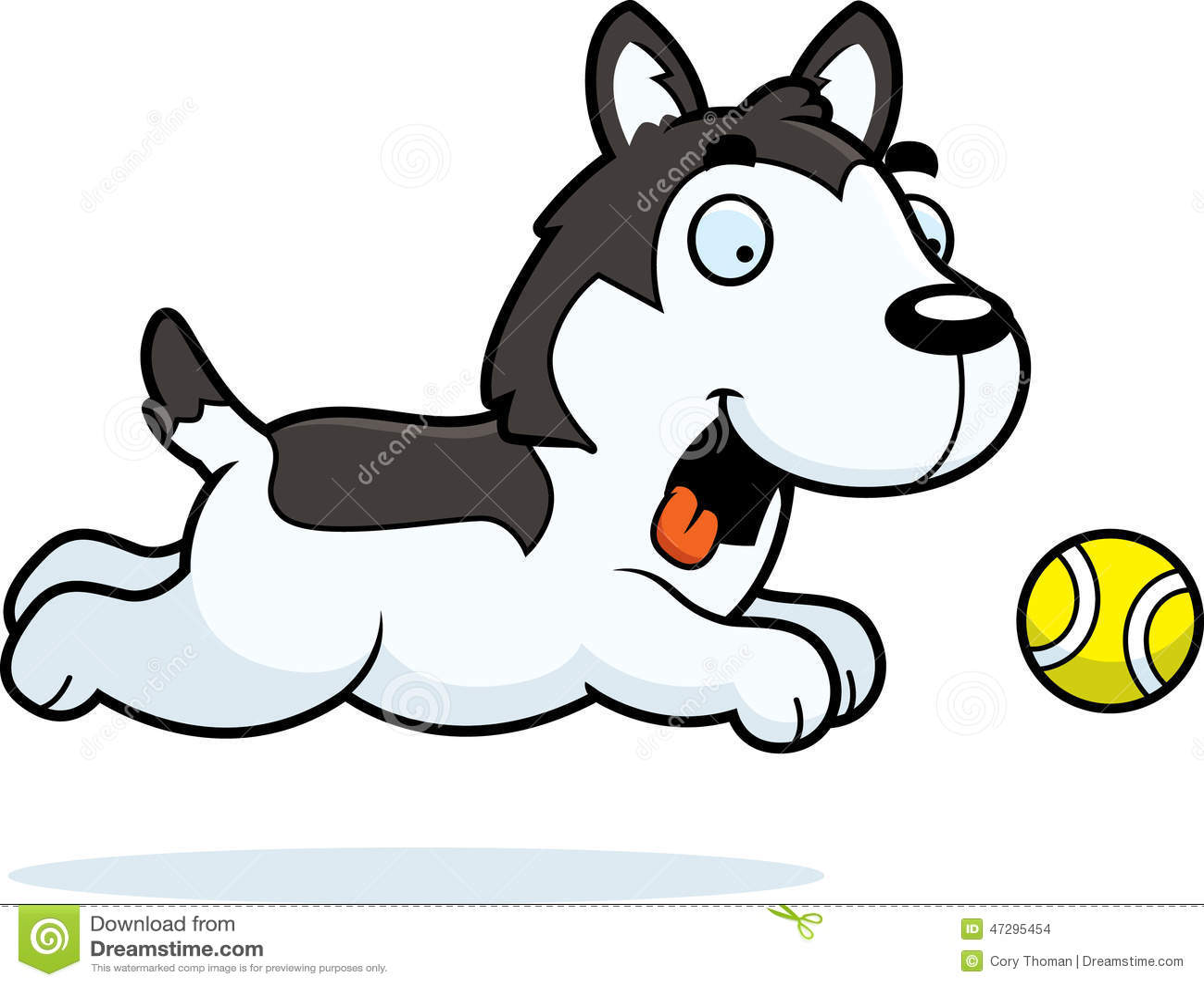 cartoon husky chasing ball