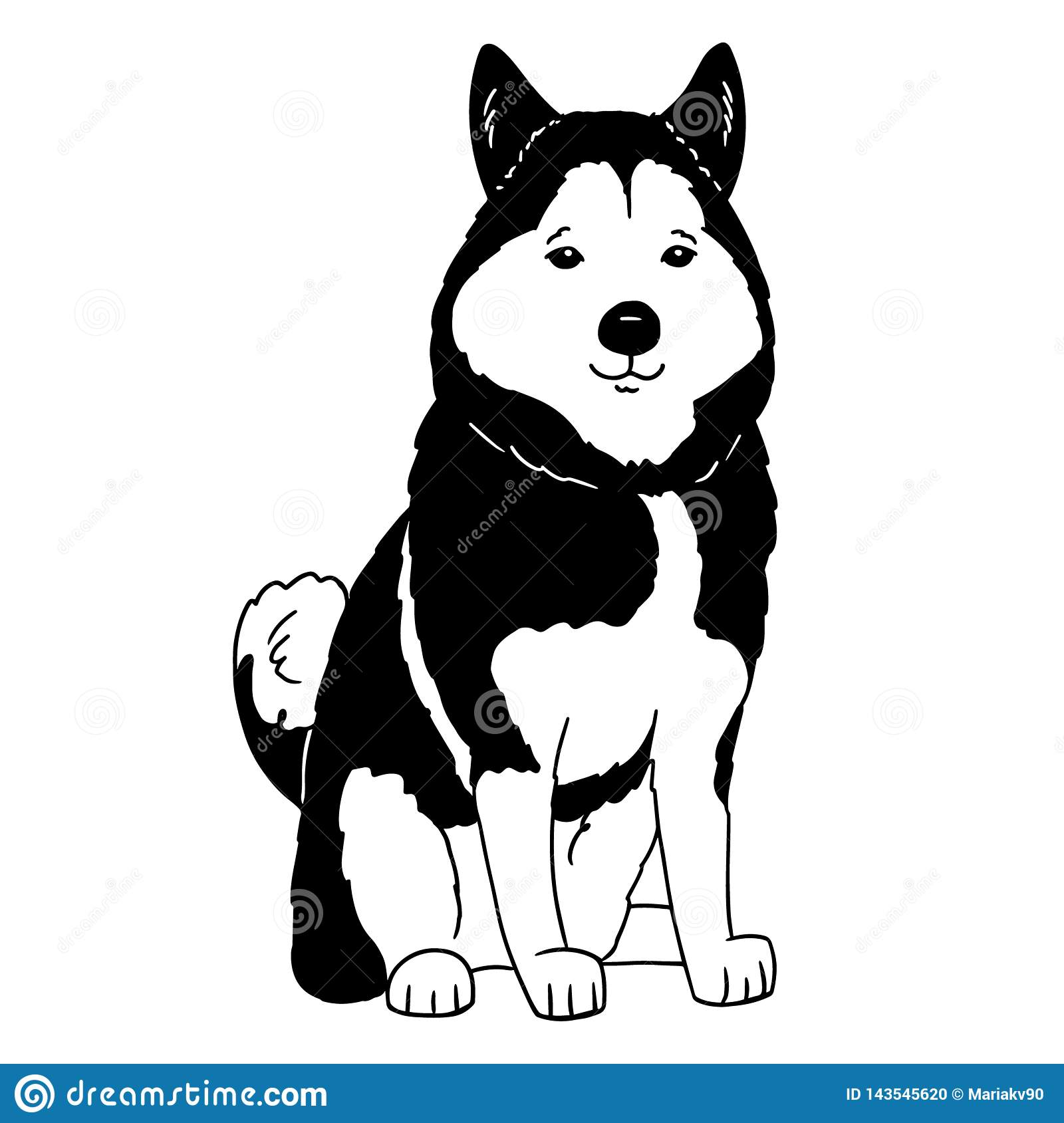 Cartoon husky logo. Portrait of a husky on white background. Black and white dog silhouette. Vector illustration of a pet. Hand
