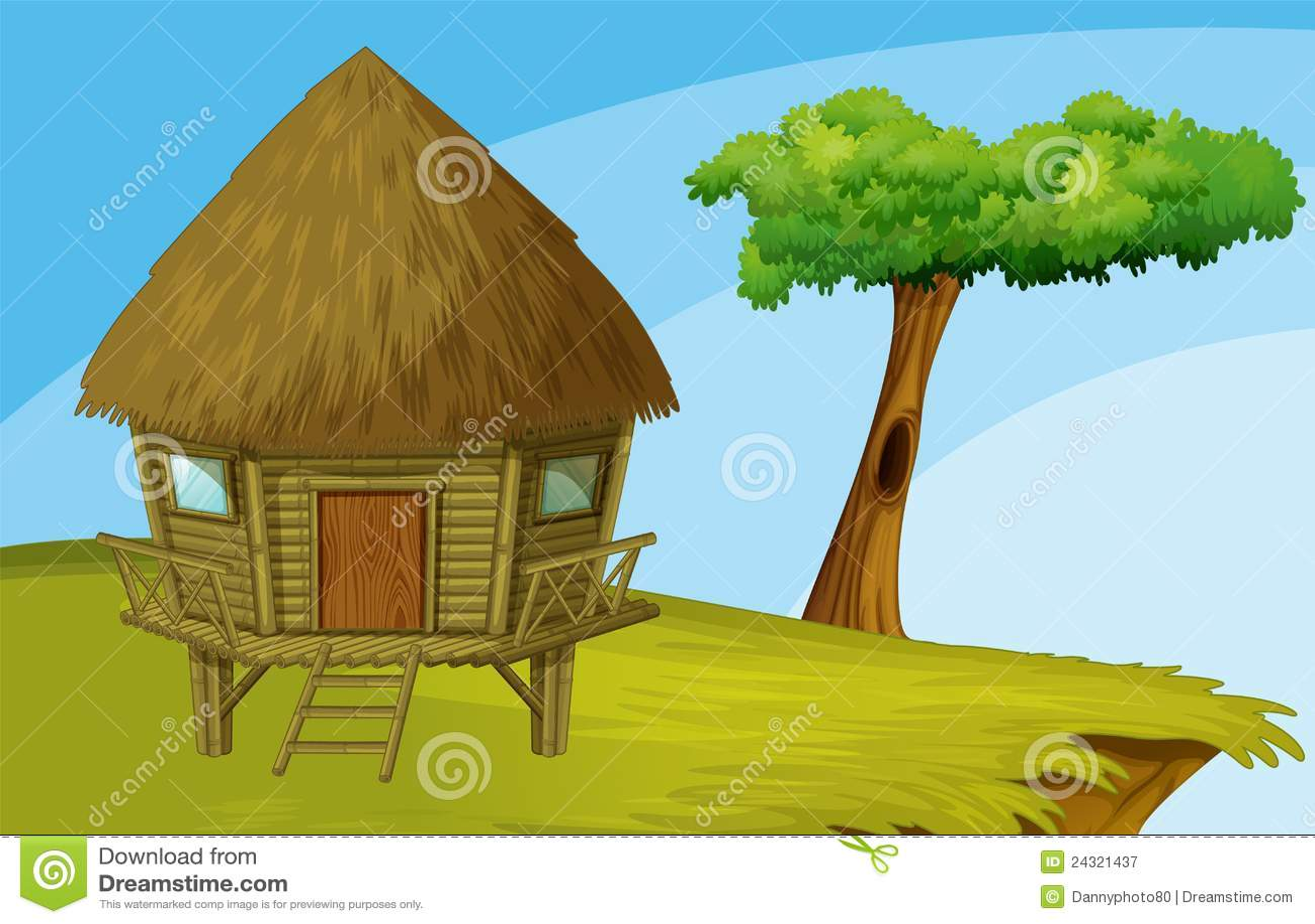 Beach And Beach Hut And Forest Cartoon