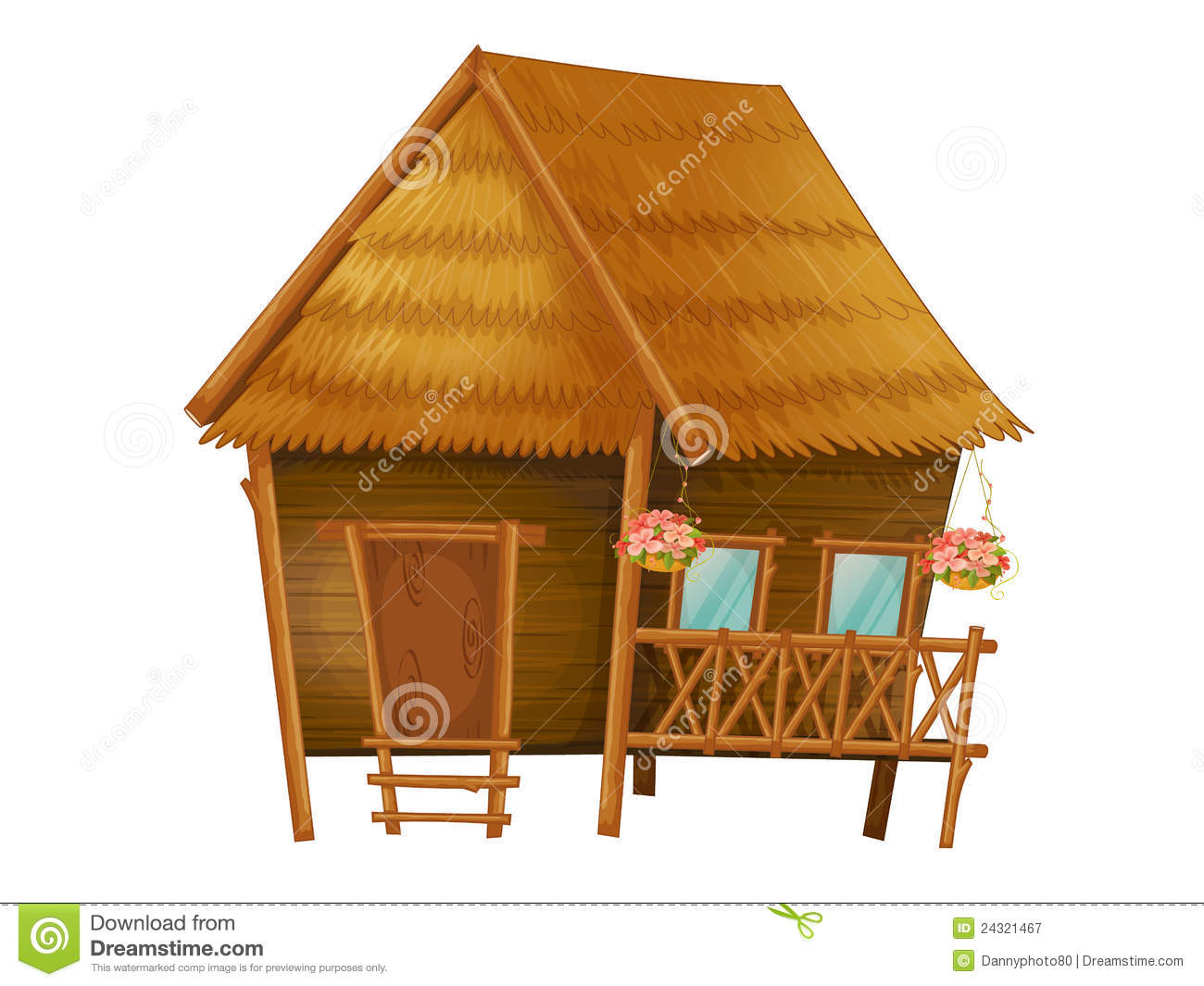 Cartoon hut stock vector. Illustration of brown, isolated ... House Made Of Sticks Cartoon