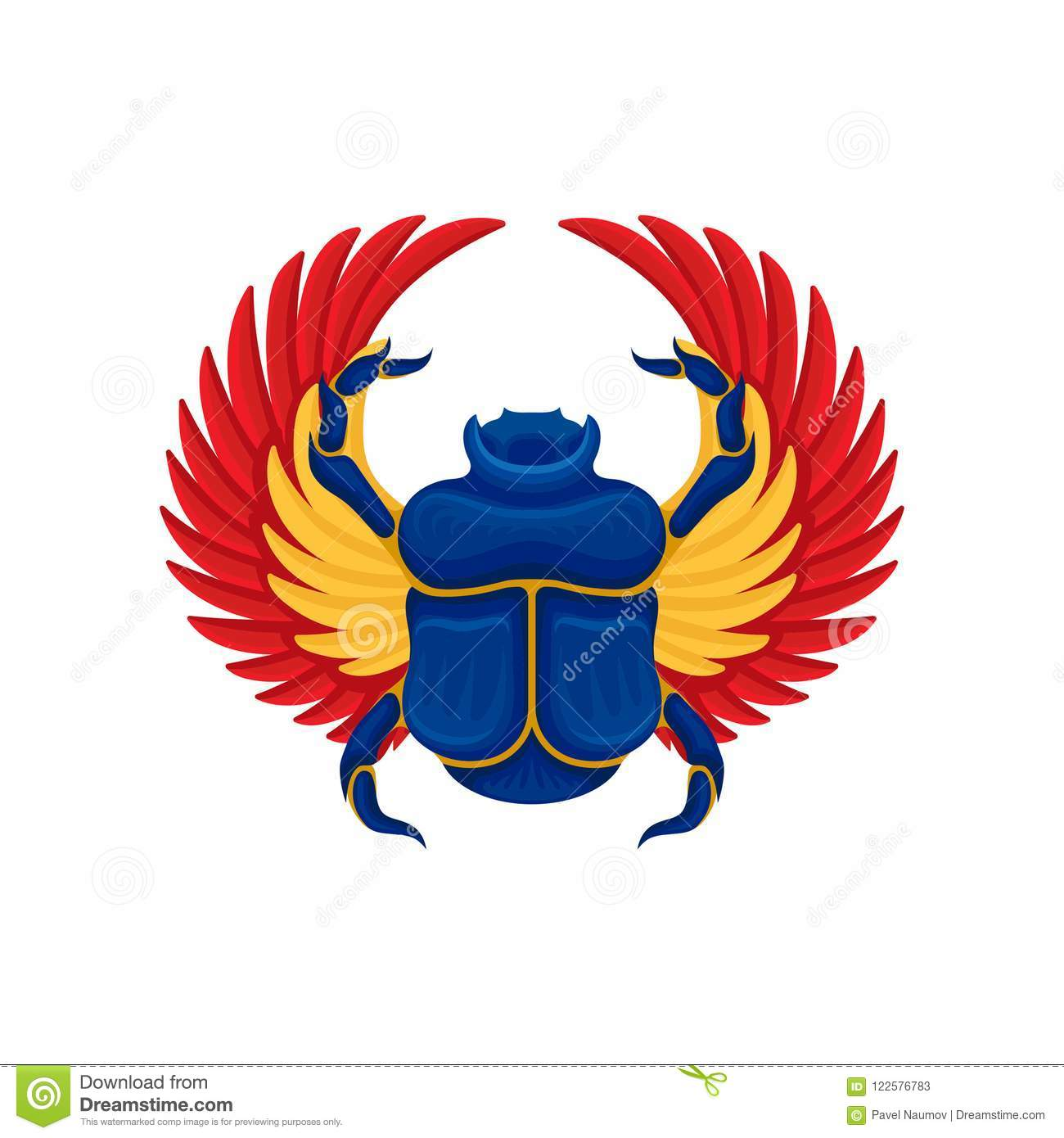 Flat Vector Icon Of Blue Scarab Beetle With Yellow Orange Wings
