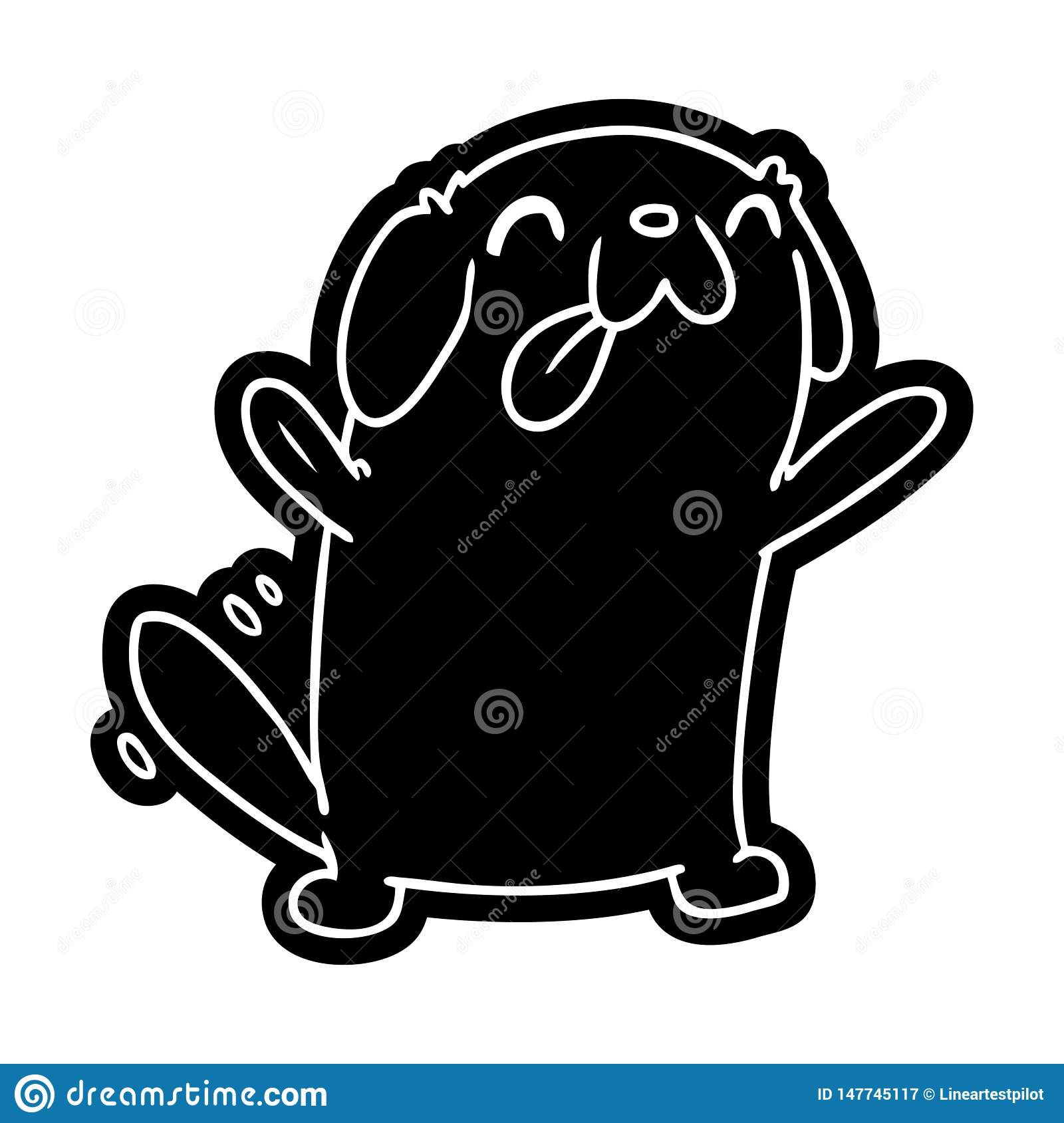 Cartoon Icon Symbol Sign Kawaii Cute Dog Pet Animal Furry Friend Puppy Art Illustration Line Drawing Doodle Quirky Freehand Drawn Free Hand Ink Black White Artwork Old Stock Illustrations 13 Cartoon