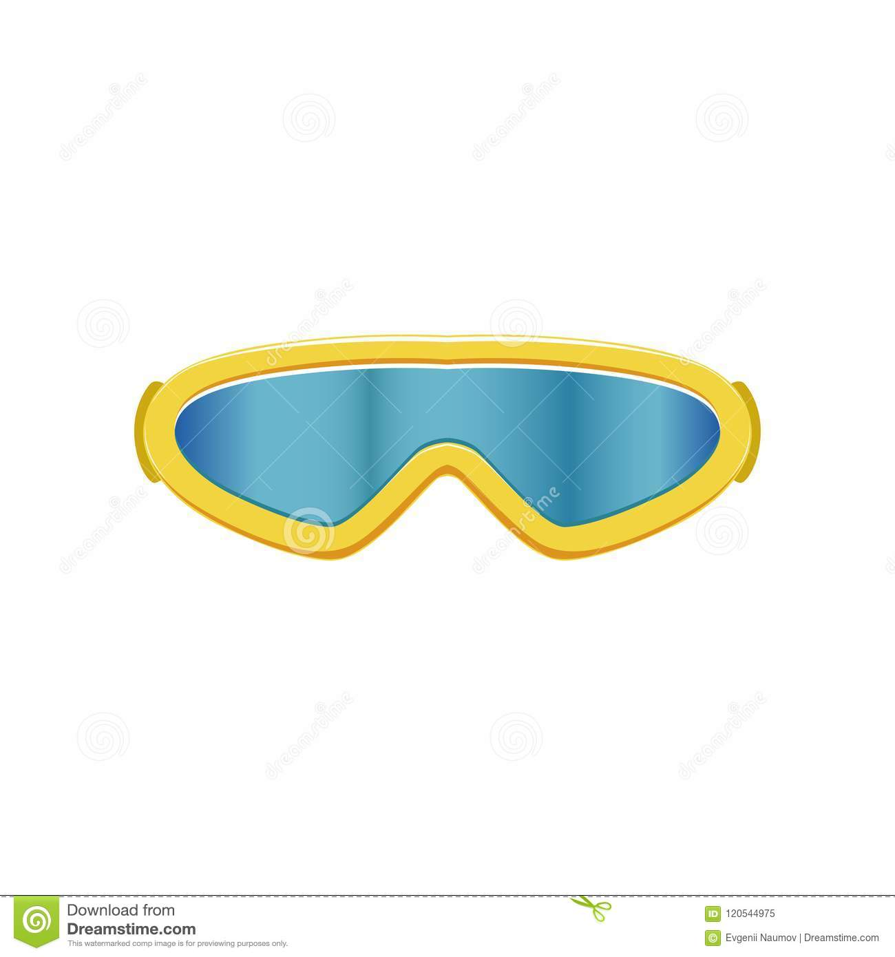 db20e8556ba2 Winter sport glasses with blue lenses and yellow frame. Protective eyewear  for sportsmen. Graphic design for mobile app. Colored flat vector  illustration ...