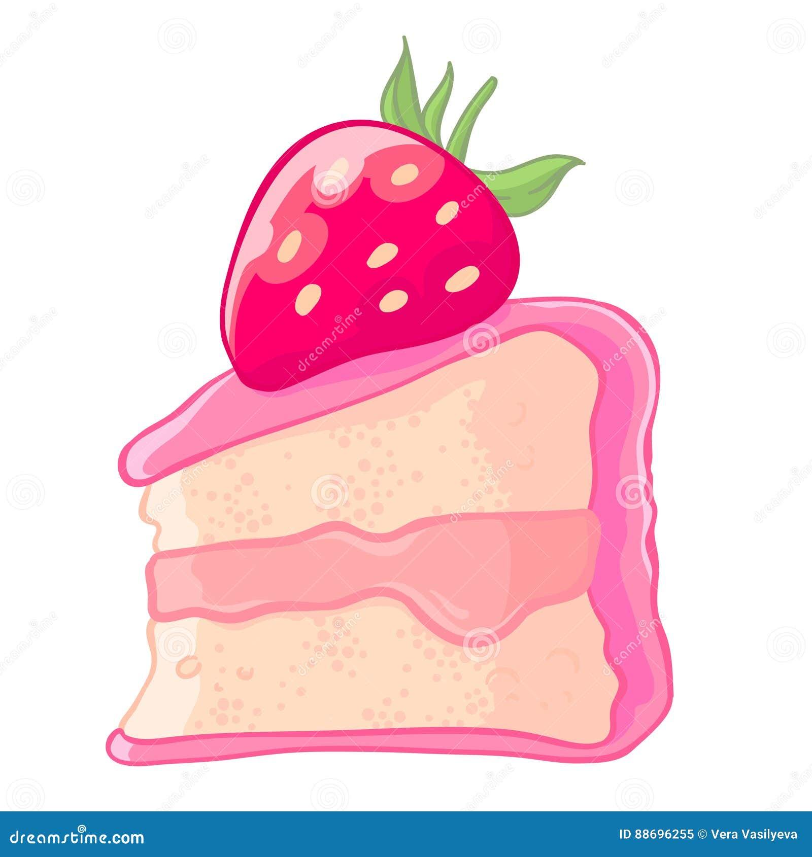 Strawberry Cake Cartoon Images : Cartoon Icon Of A Slice Of Strawberry Sponge Cake With Jam ...