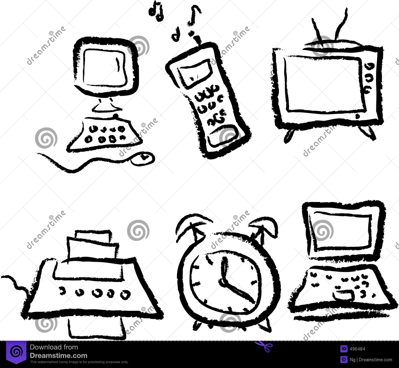 technology cartoon modern icons preview