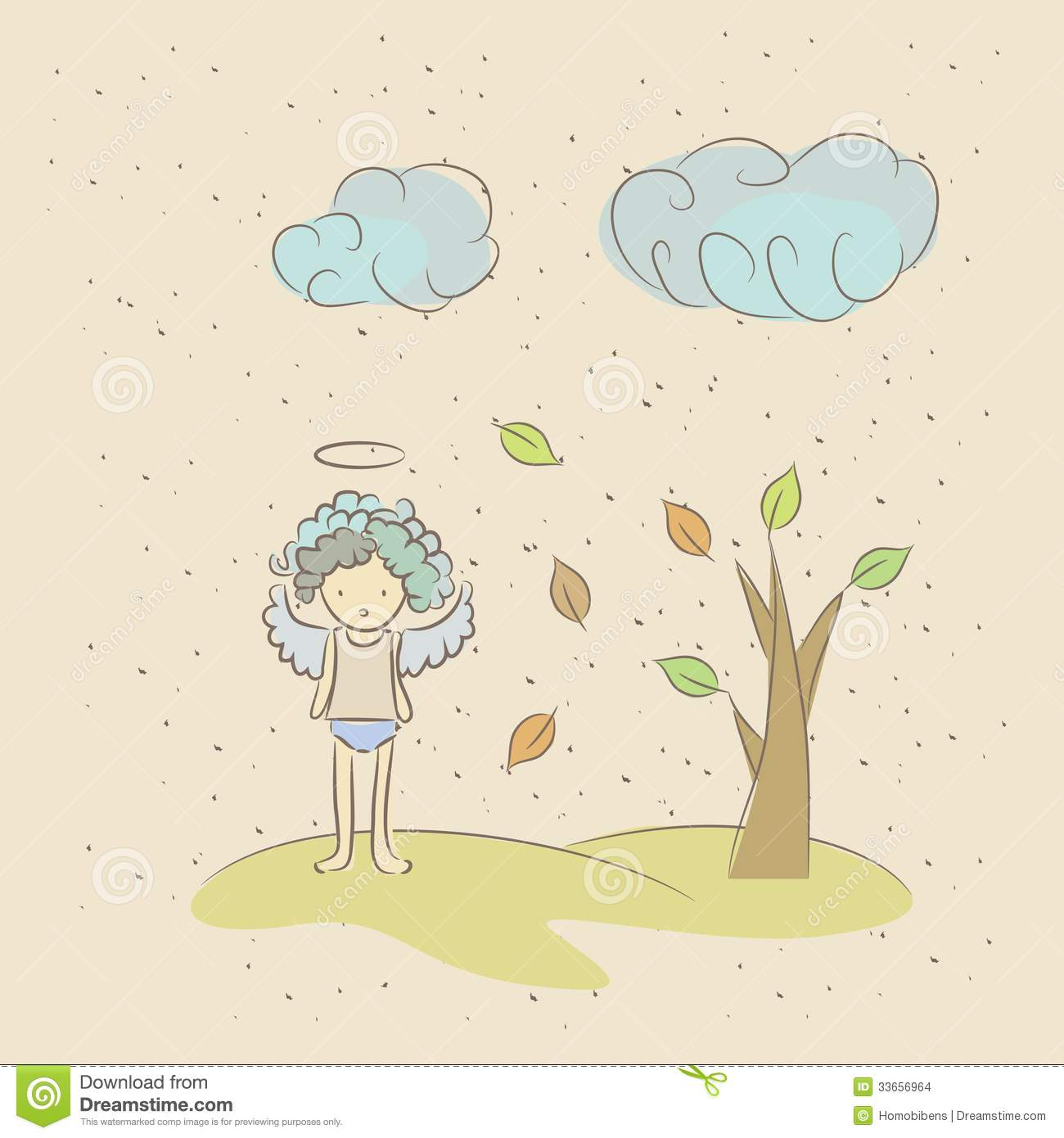Cartoon illustration of an angel sad because of the fall