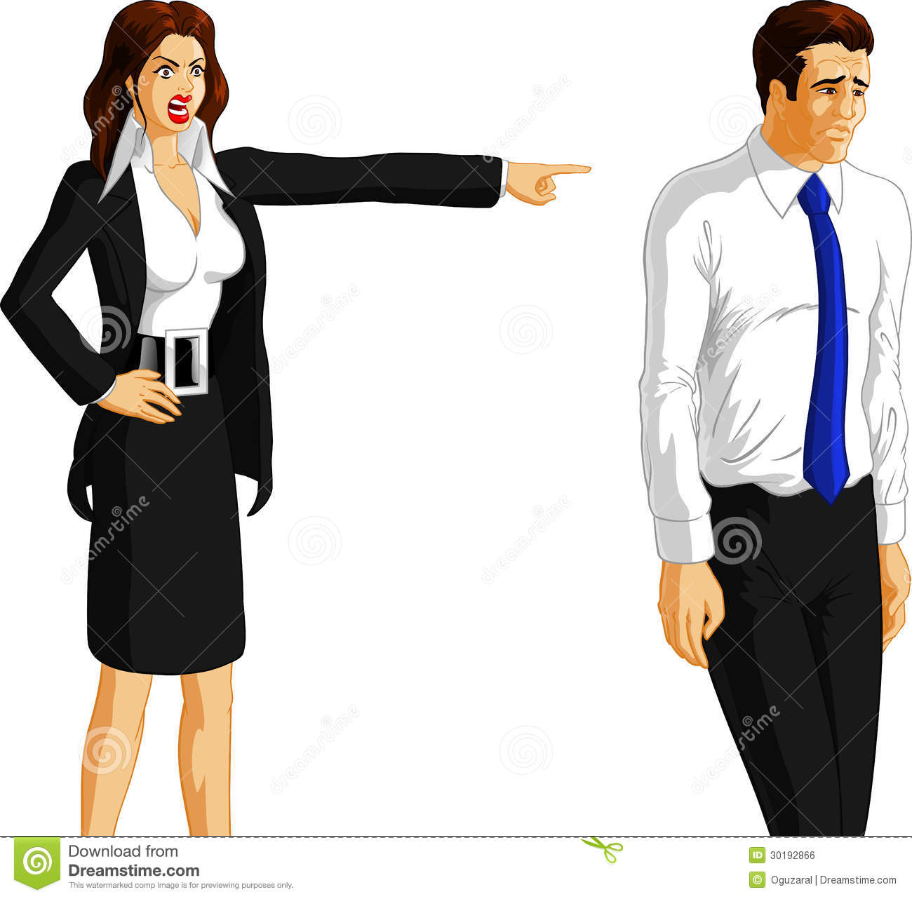 ... angry businesswoman pointing at fired male worker, white background