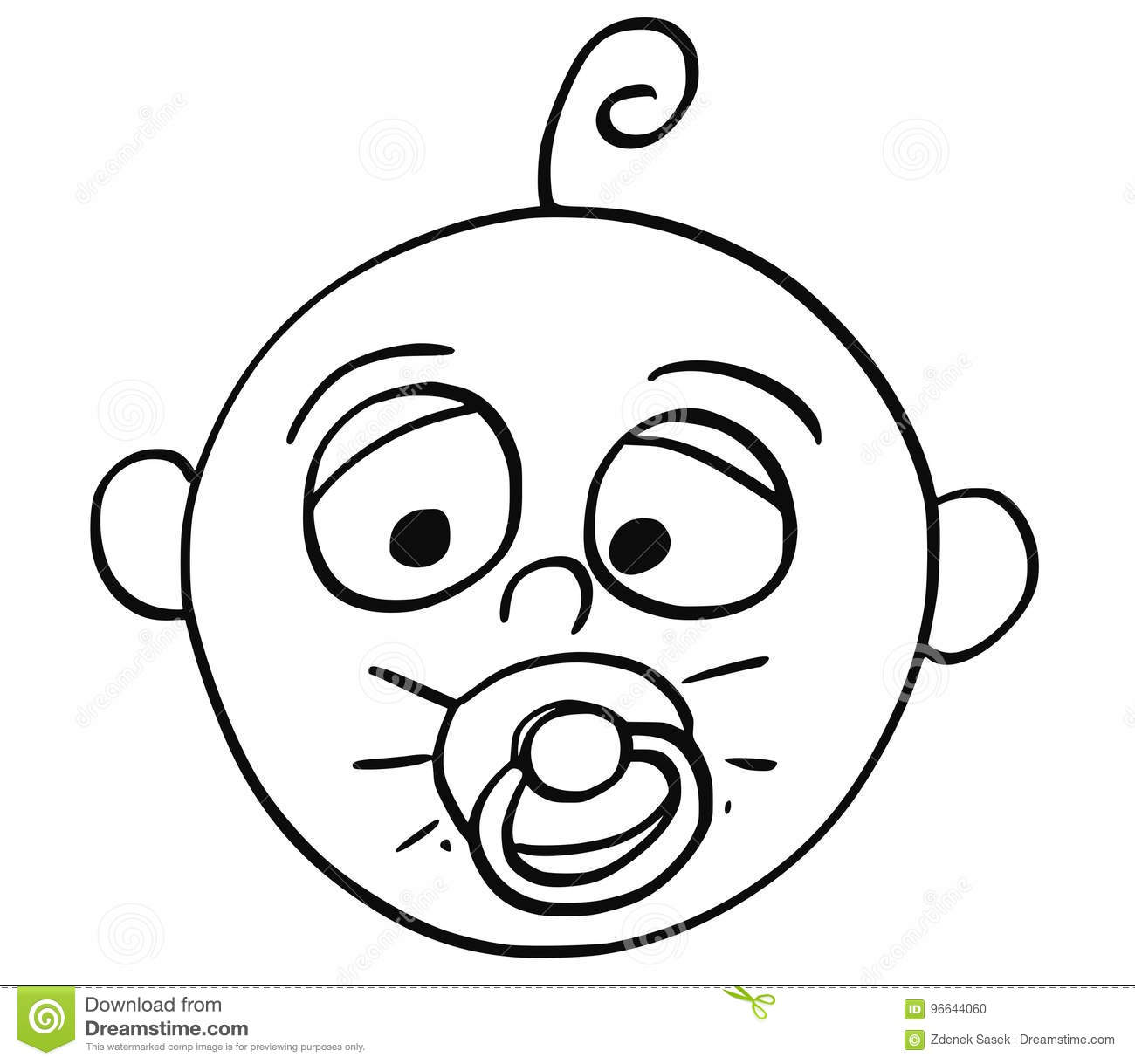 cartoon illustration of baby with dummy or forter or pacifier Somebody Audio hand drawing cartoon vector illustration of tired baby with dummy or forter or pacifier in mouth