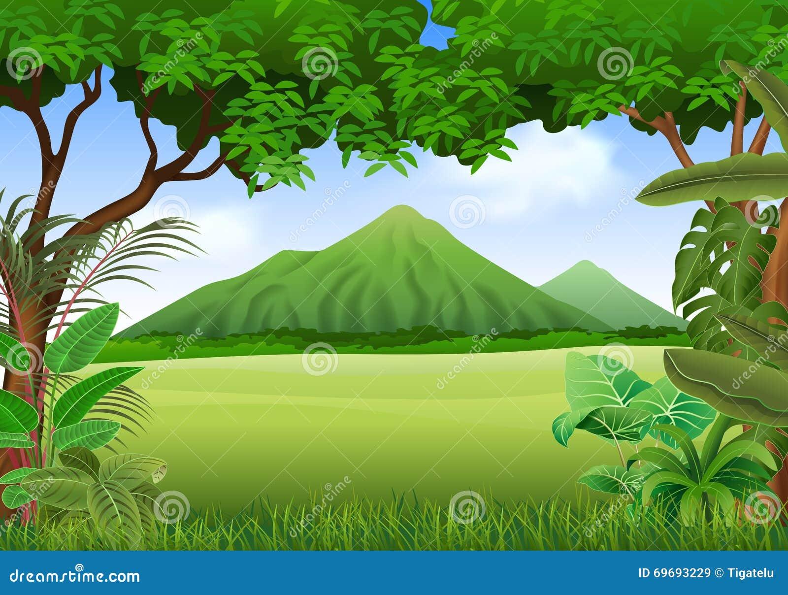 Landscape Illustration Vector Free: Cartoon Illustration Of Beautiful Natural Landscape