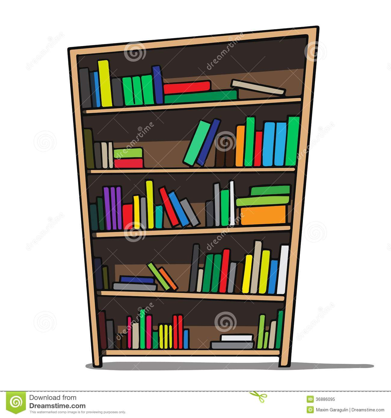 cartoon illustration of a bookshelf royalty free stock
