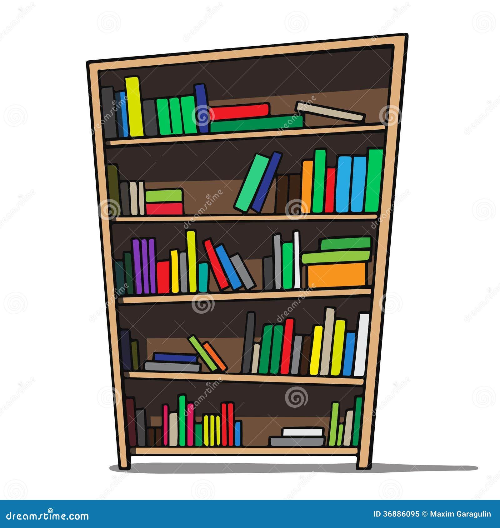 Library Bookshelf Clipart Cartoon Illustration O...