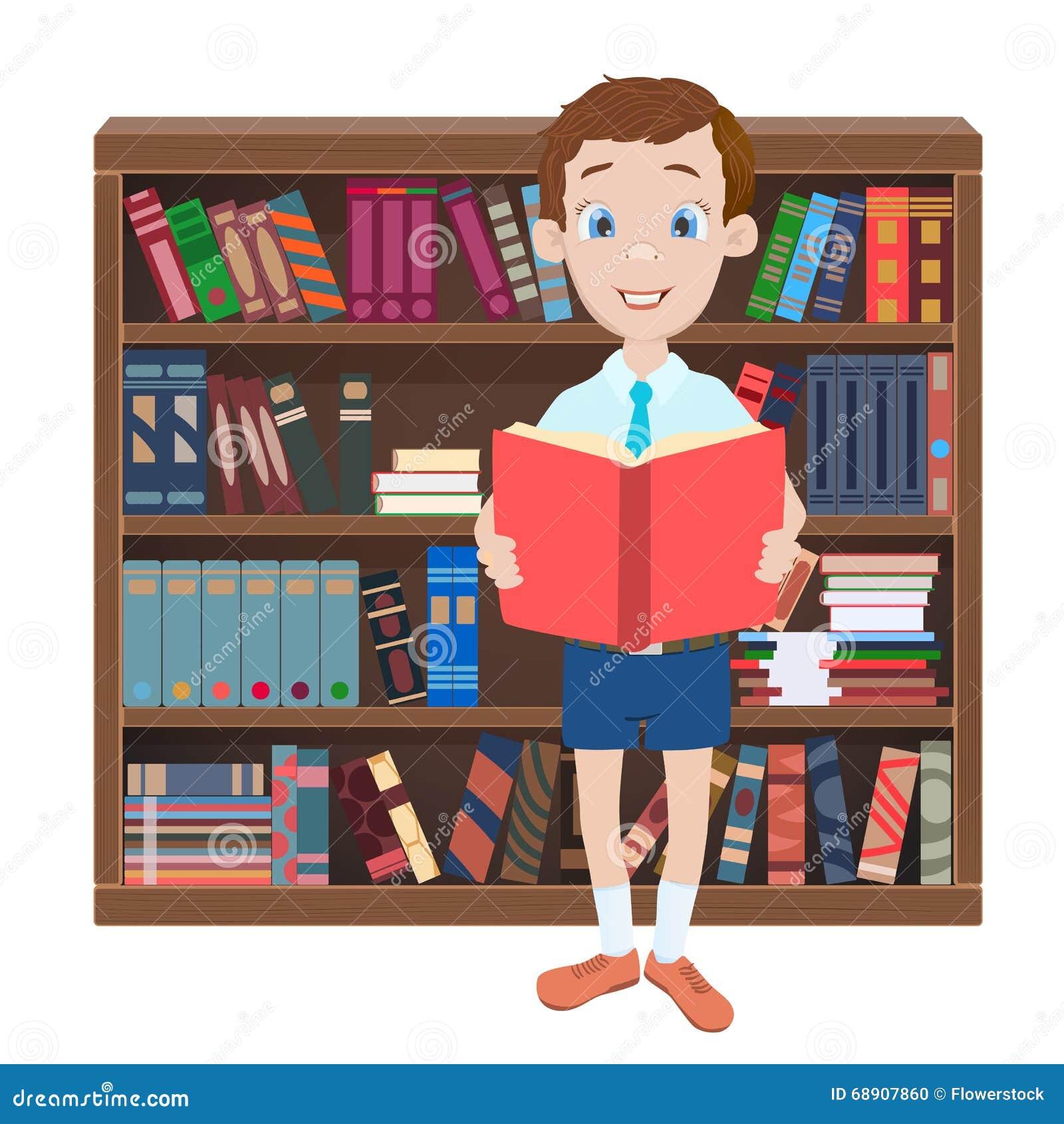 Library Bookshelf Clipart Cartoon Illustration W...