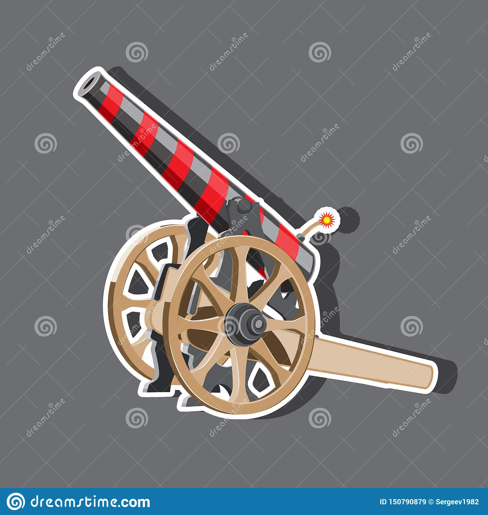 Cartoon illustration of cannon with cannonballs, weapon icon, EPS