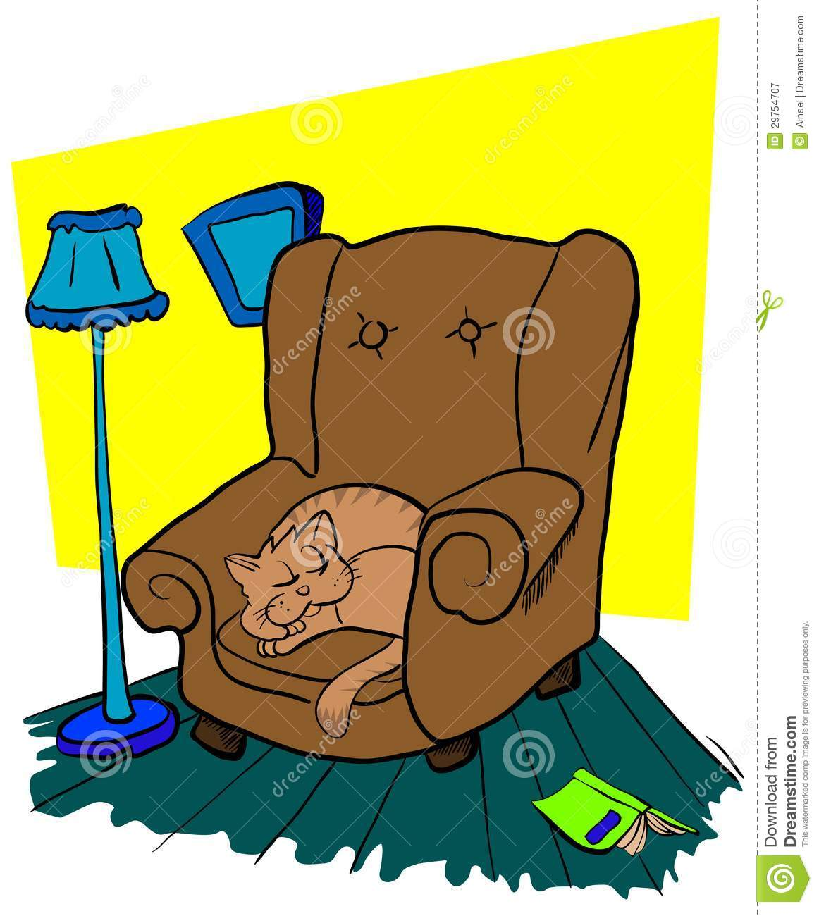 Cat Sleeping On A Chair Stock Vector Image Of Armchair