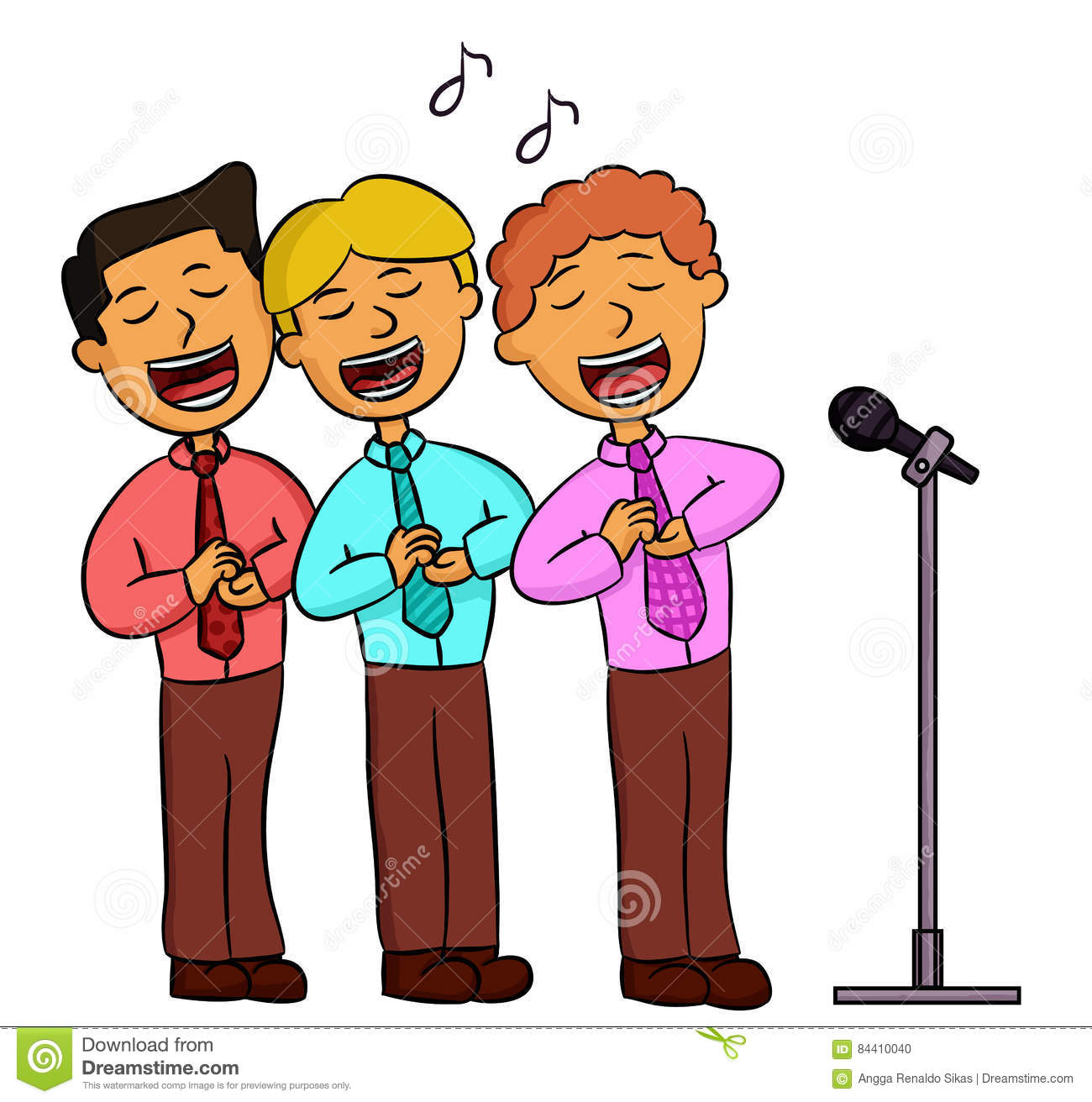 Animated people singing