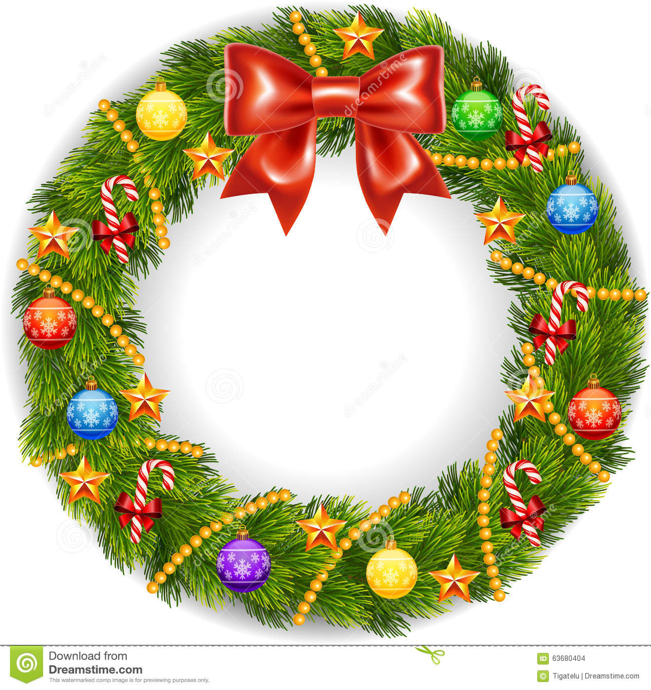Cartoon Illustration Of Christmas Wreath With Ribbons Balls And Bow