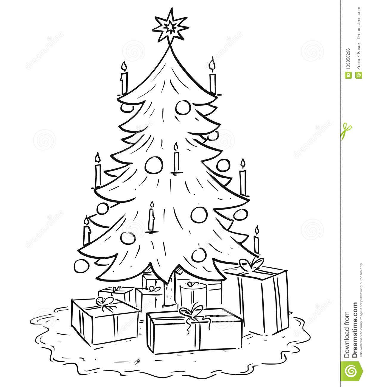 Cartoon Illustration Of Christmas Xmas Tree With Gifts Stock Vector
