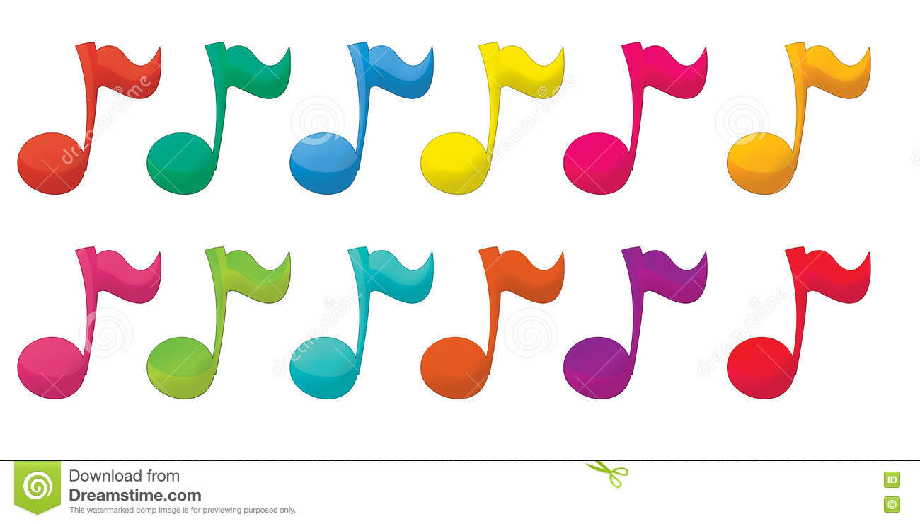 Cartoon Illustration Of Colorful Music Notes - Isolated ...