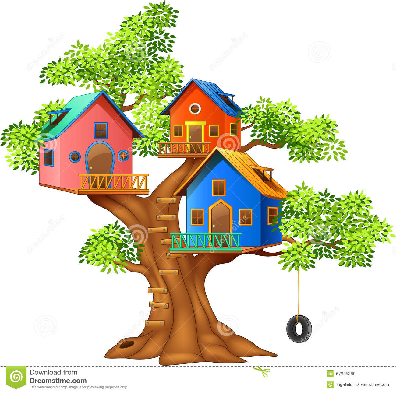 Cartoon Illustration Of A Colorful Tree House Stock Vector