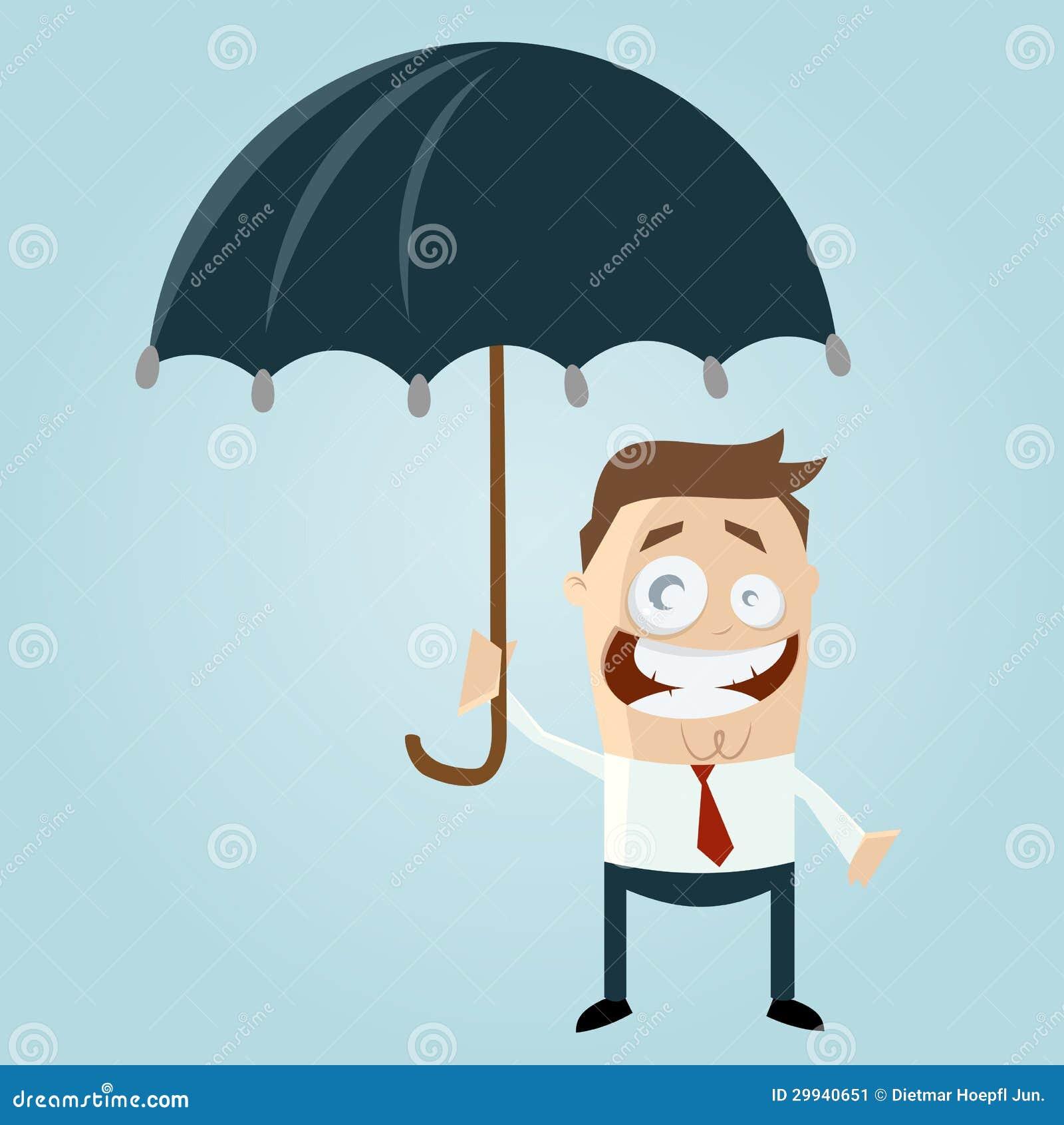 cartoon man with umbrella stock image image 29940651