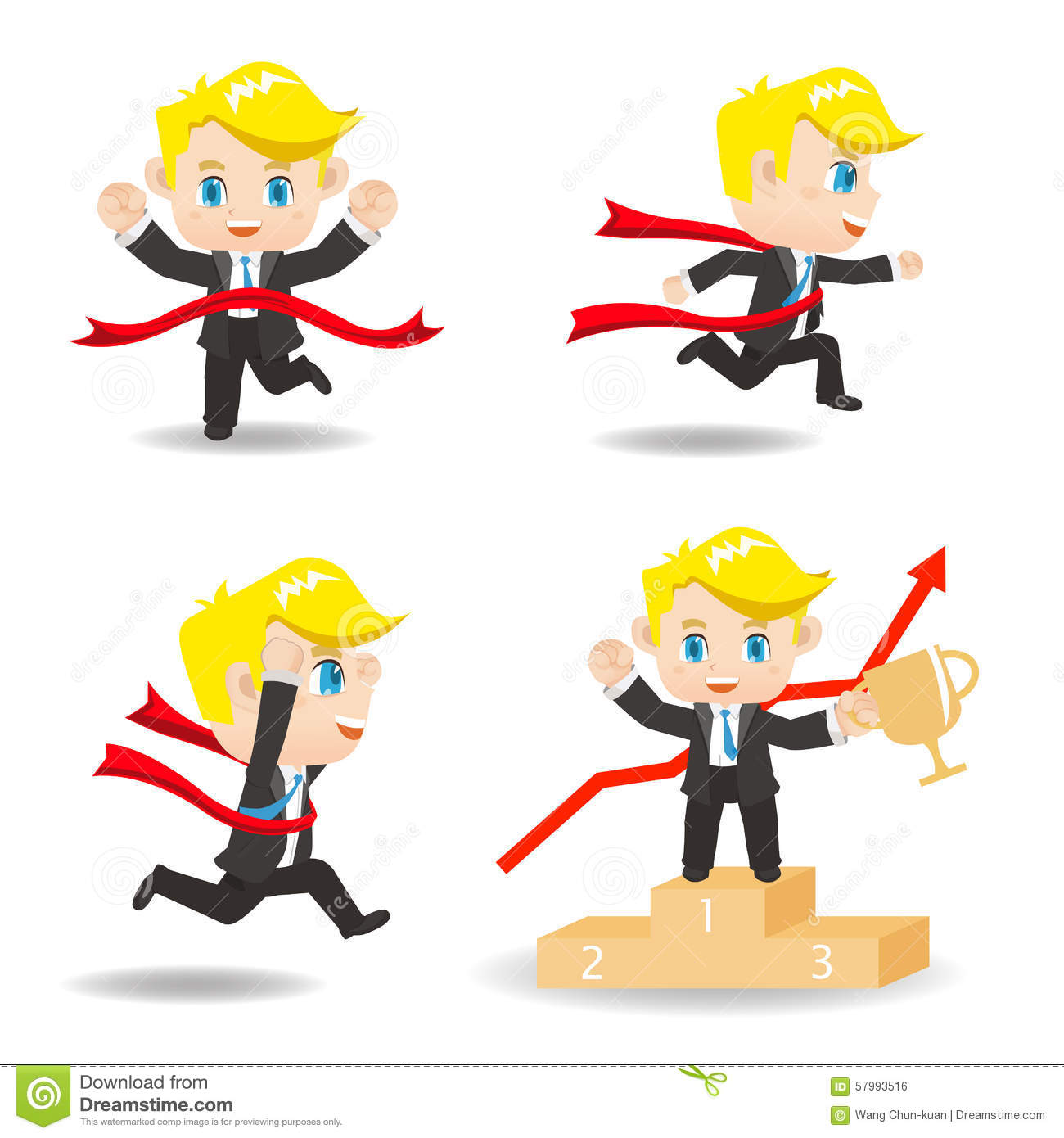 Cartoon illustration competitive Business man