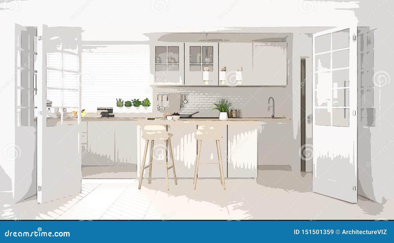 Cartoon Illustration Of Cozy Modern Kitchen, Interior Design ...