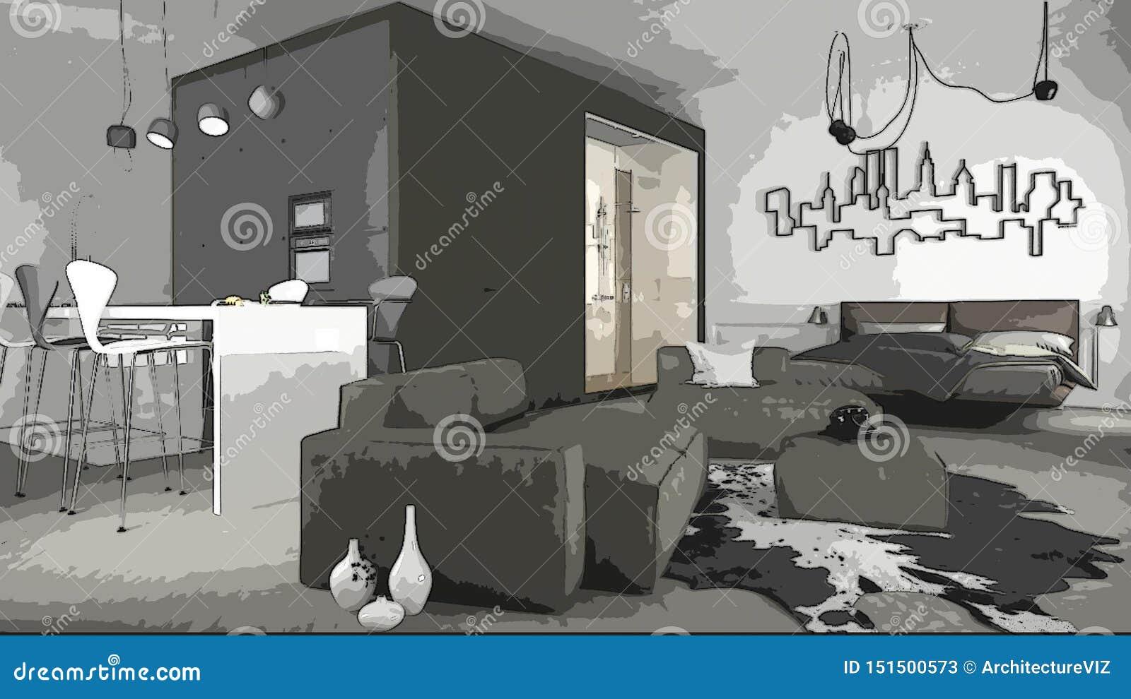 Cartoon Illustration Of Cozy Modern Living Room, Interior Design ...
