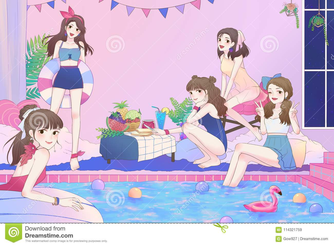 Cartoon illustration of 5 cute Asian teen girls having fun and pool party in the large bathroom with swimsuit in vintage fashion