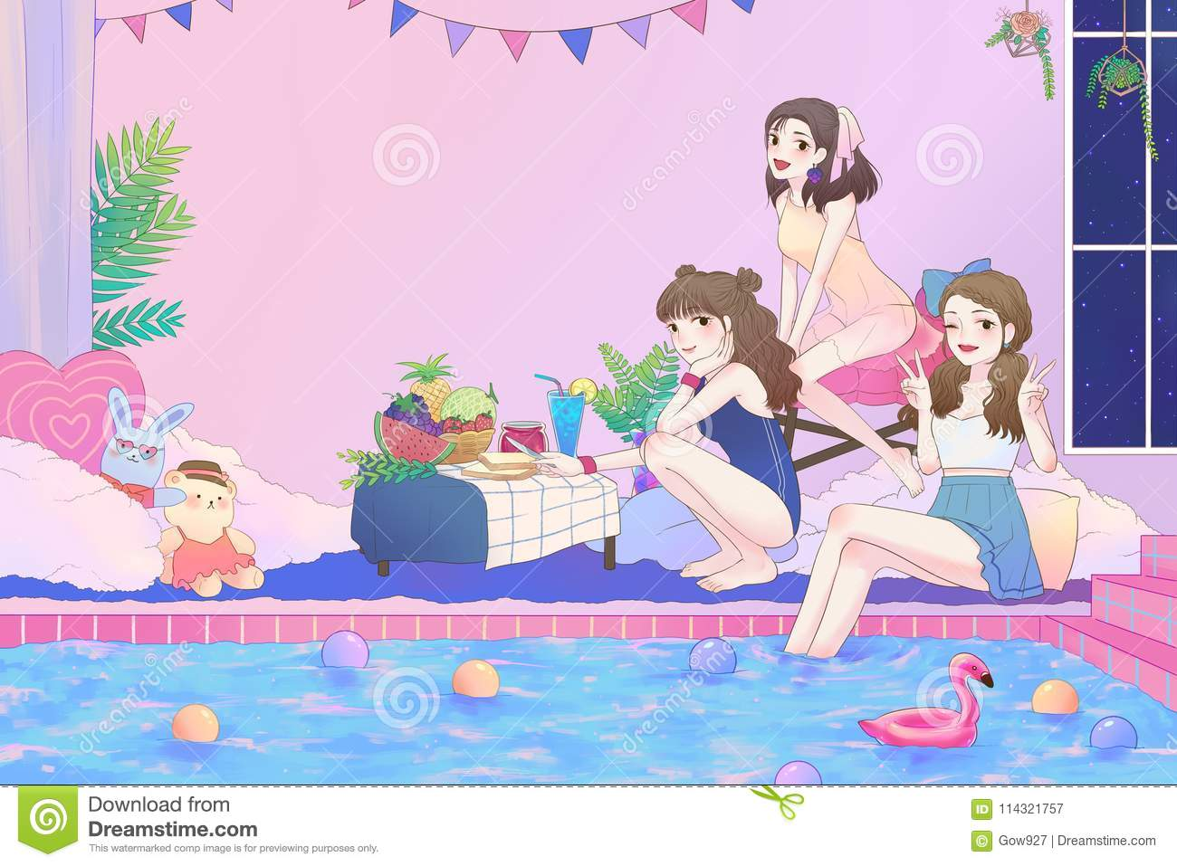 Cartoon Illustration Of Cute Asian Teen Girls Having Fun And Pool - Party in the bathroom