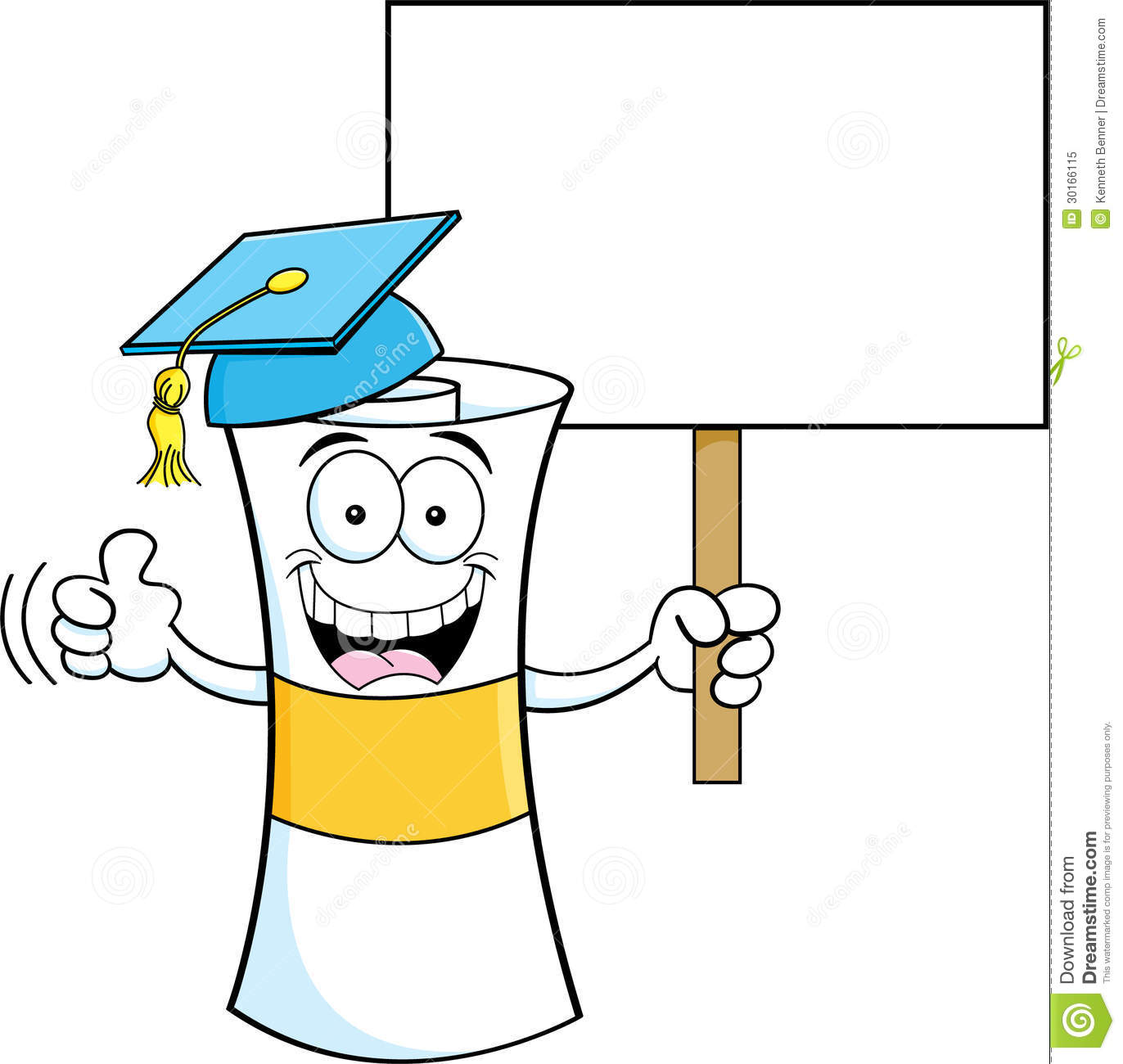 Cartoon Diploma With A Sign Royalty Free Stock Photo