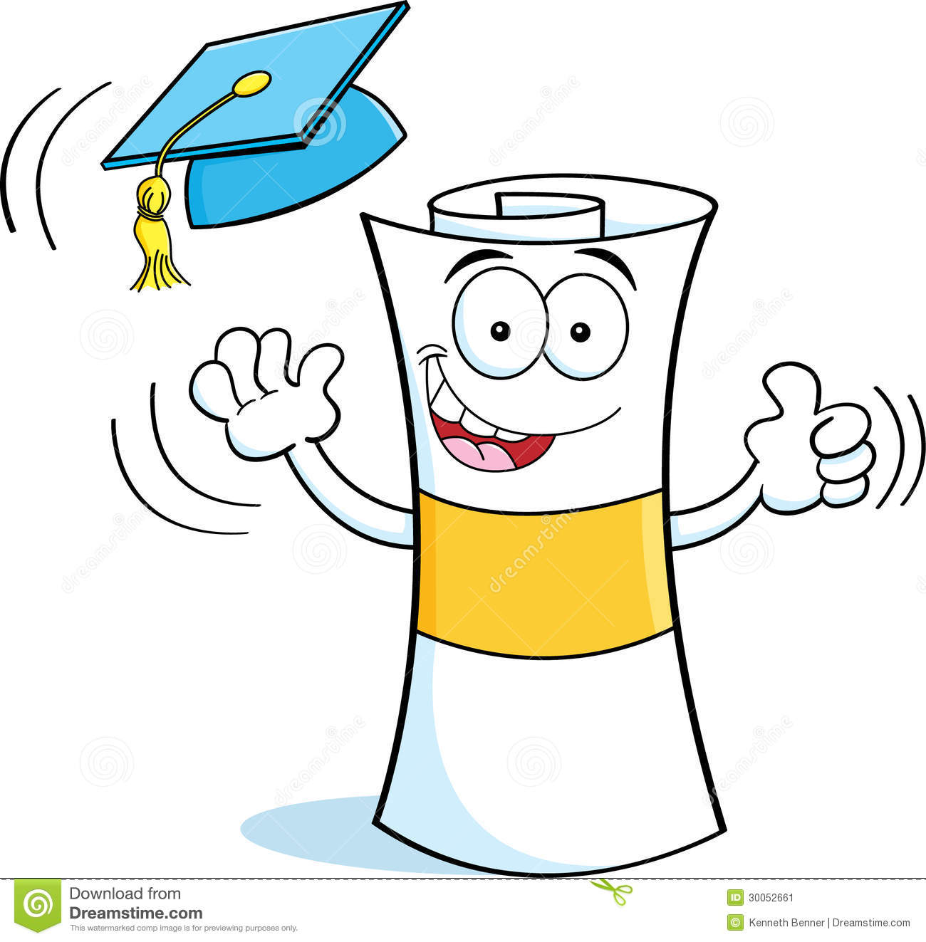 ... illustration of a diploma tossing a graduation cap into the air
