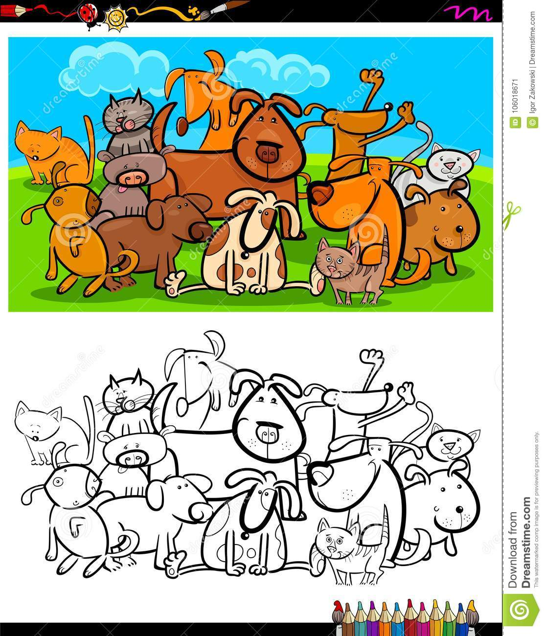 Cats And Dogs Characters Group Coloring Book Stock Vector ...
